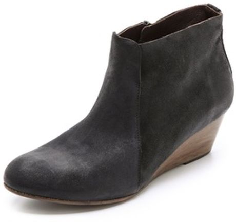 coclico kennedy suede wedge booties in black lyst