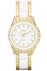 DKNY Womens White Ceramic and Gold Ionplated Stainless Steel Bracelet 32mm - Lyst