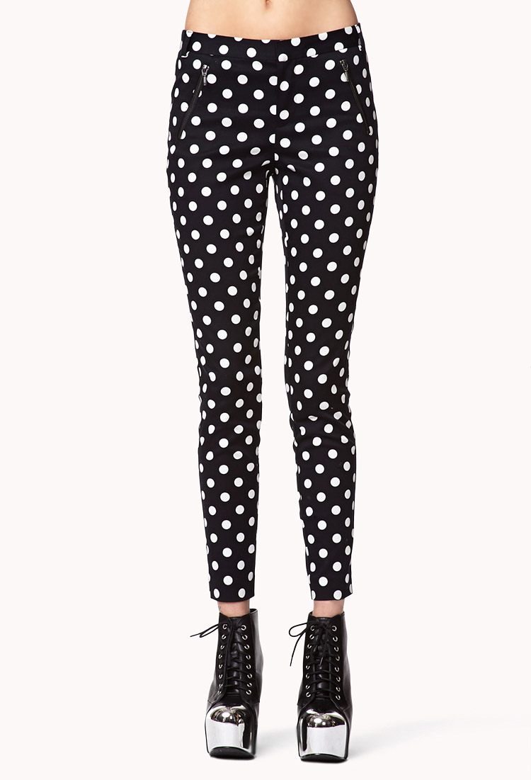 Find and save ideas about Polka dot pants on Pinterest. | See more ideas about Teacher style, Brown pants outfit for work and Teacher wardrobe. Women's fashion. Polka dot pants; Polka dot pants Black/white polka dot pants, black top, yellow handbag and shoes.