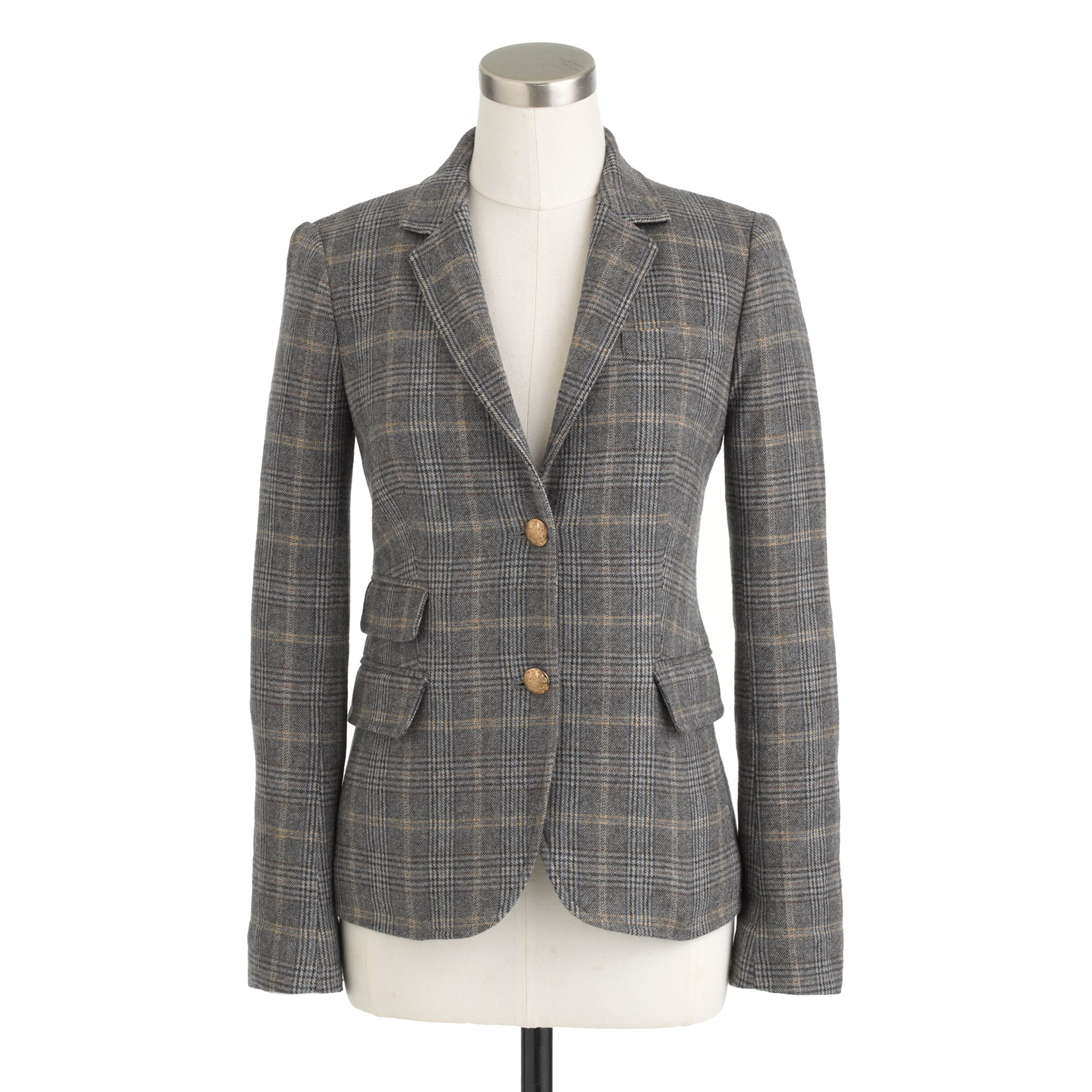 J.Crew Petite Schoolboy Blazer In English Tweed In Gray