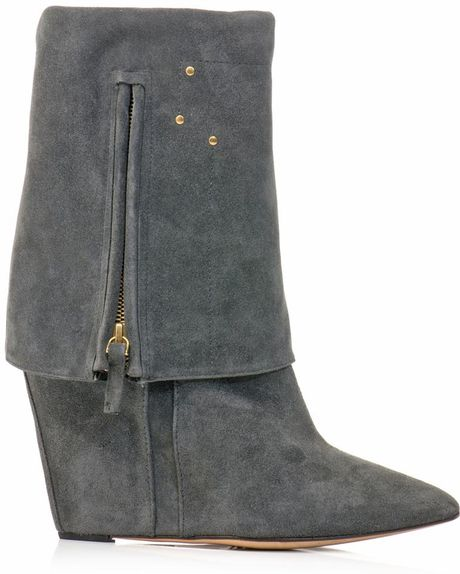 j 233 r 244 me dreyfuss bilboots suede wedge boots in gray grey