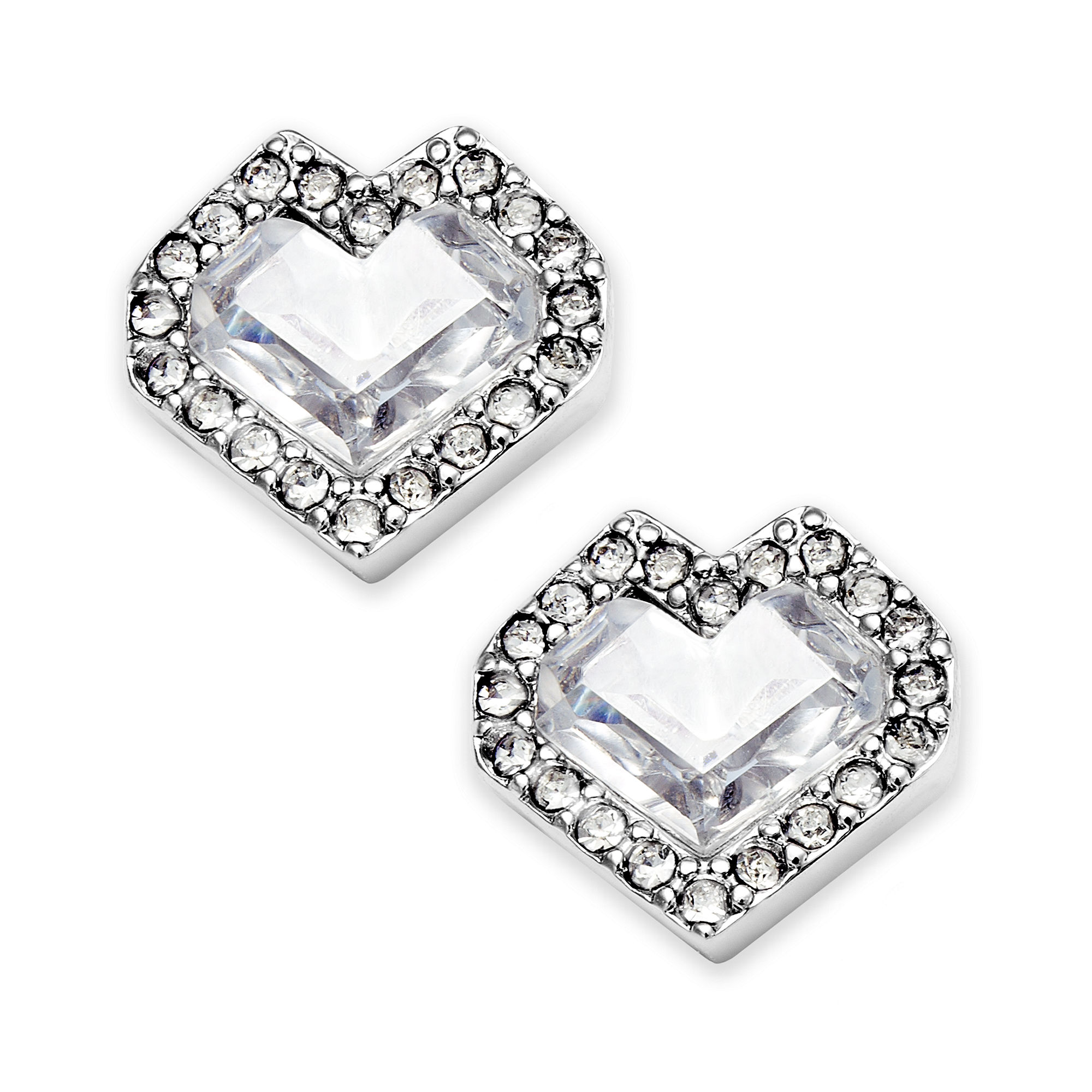 juicy couture silvertone pave heart stud earrings in. Black Bedroom Furniture Sets. Home Design Ideas
