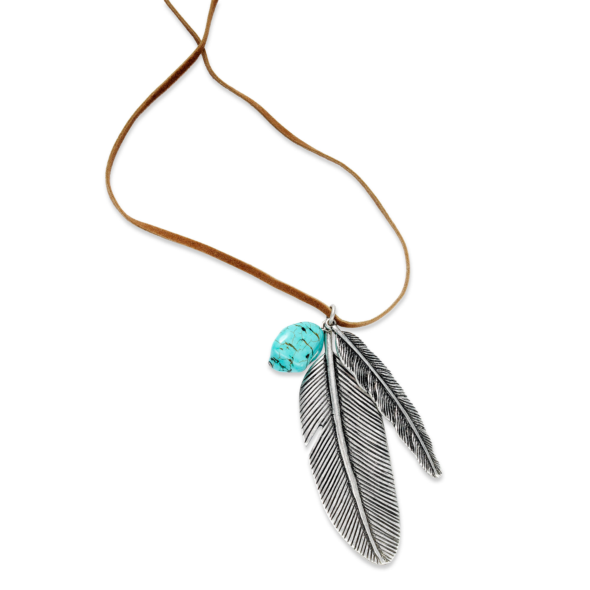 by ralph silvertone feather pendant suede