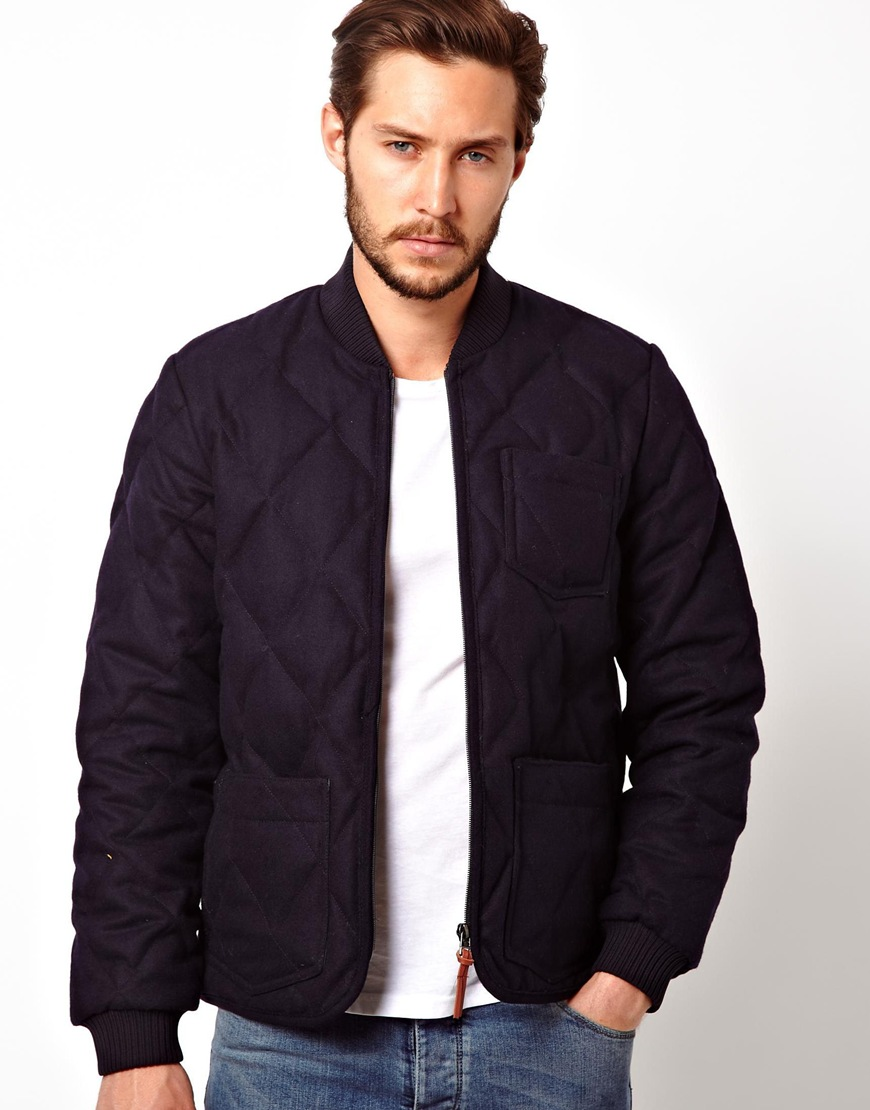 Lyst Lee Jeans Jacket Quilted Wool Bomber In Black For Men