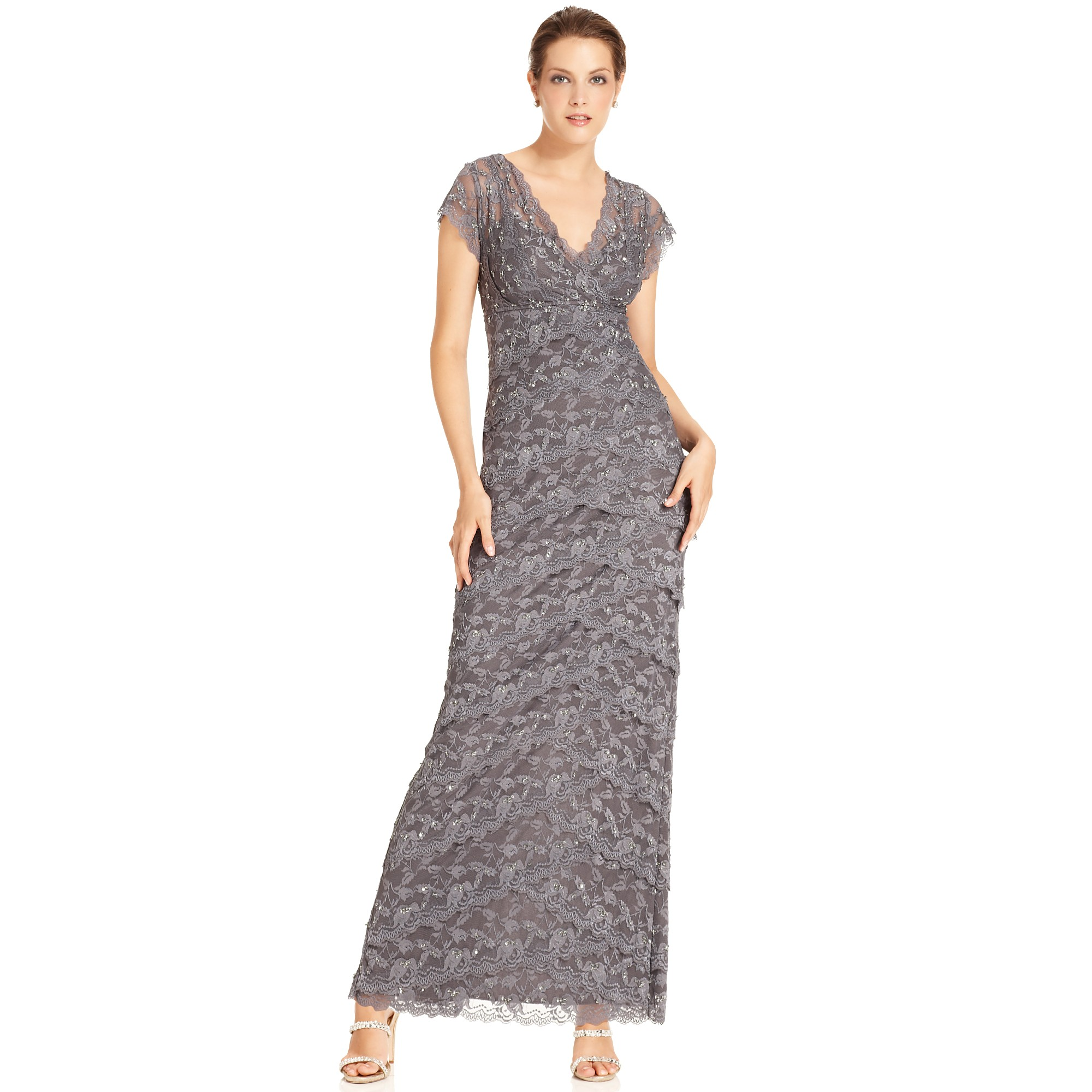 Lyst - Marina Short Sleeve Vneck Beaded Lace Evening Gown in Gray