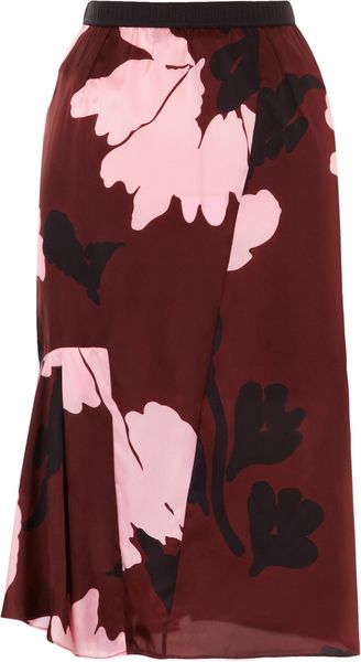 Marni Twill Winter Floral Skirt - Lyst