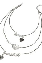 Material Girl Silvertone Three-row Heart-breaker Pendant Necklace - Lyst