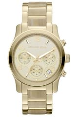 Michael Kors Womens Chronograph Runway Horn Acetate and Gold Tone Stainless Steel Bracelet 38mm - Lyst