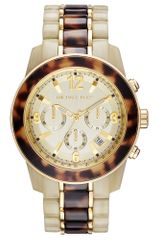 Michael Kors Womens Chronograph Twotone Acetate and Goldtone Stainless Steel Bracelet 43mm - Lyst