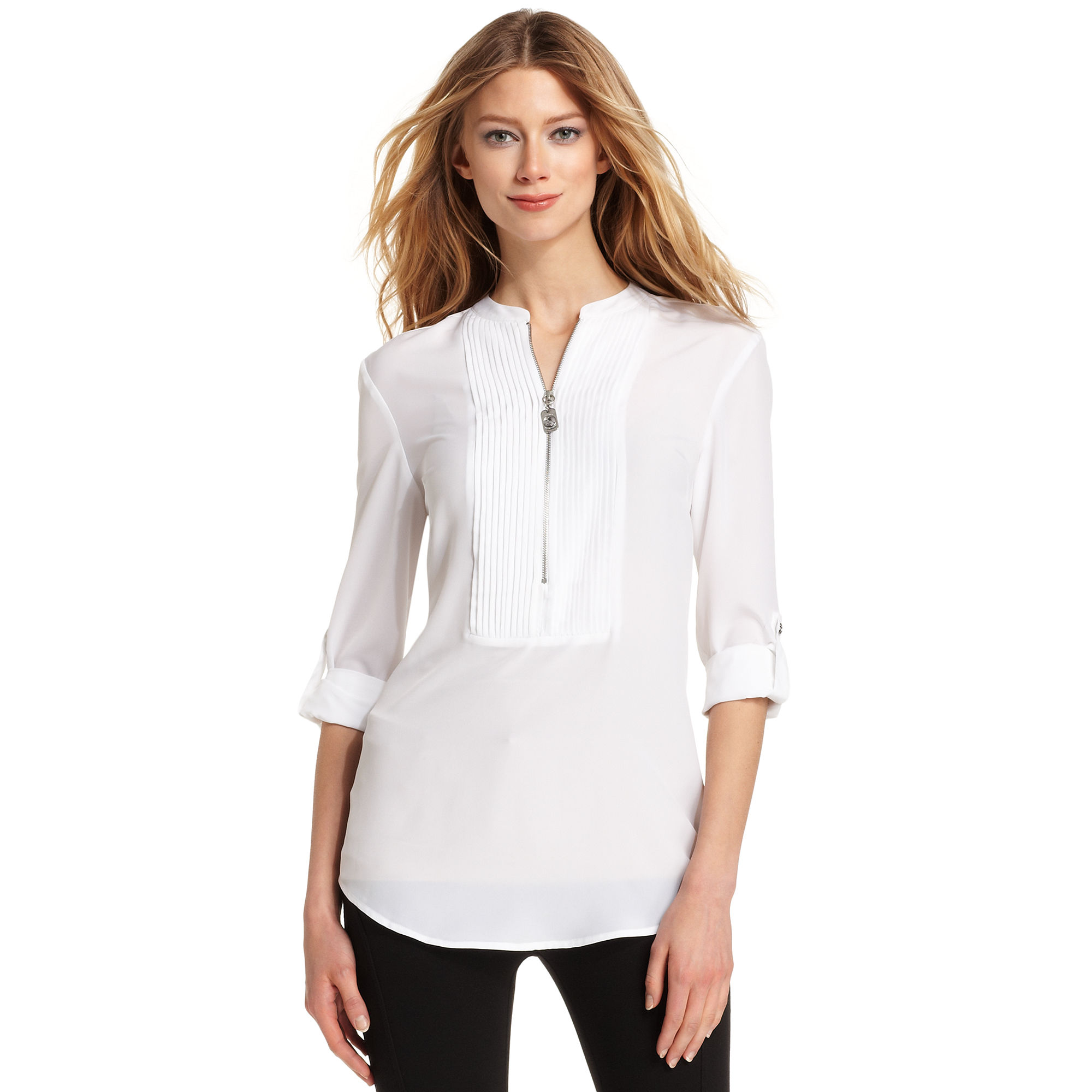 Womens Banded Collar Tuxedo Shirt Bcd Tofu House