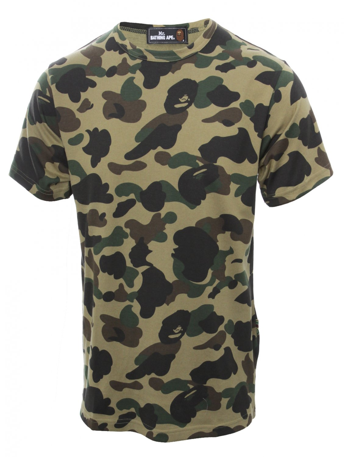 Mr bathing ape camouflage print t shirt green in green for Camo print t shirt