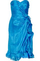 Oscar de la Renta Ruffled Silk Dress - Lyst