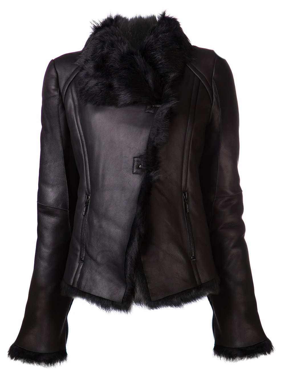 Plein sud Fur Collar Leather Jacket in Black | Lyst