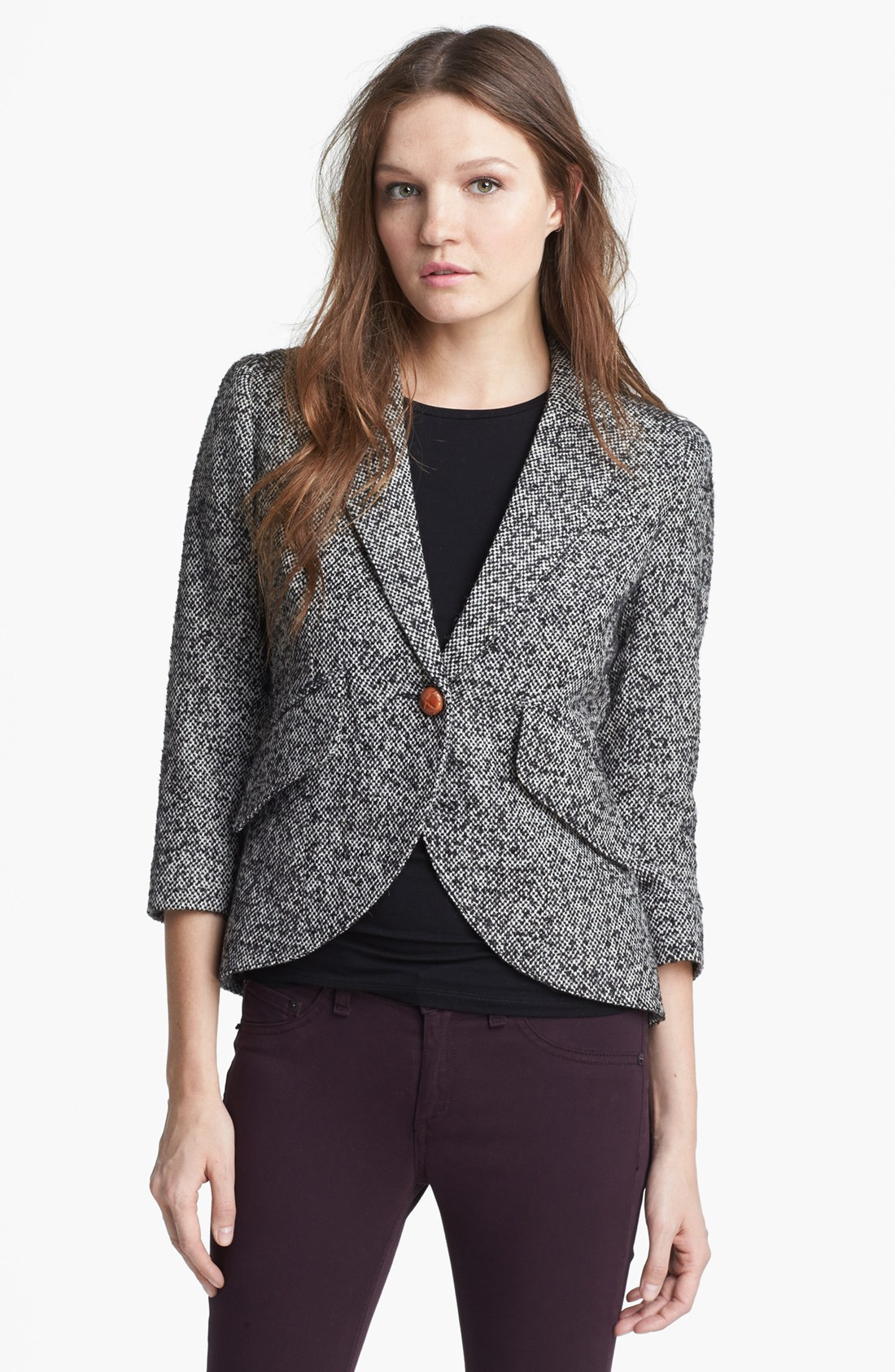 Smythe Elbow Patch Tweed Jacket In White Black White Lyst