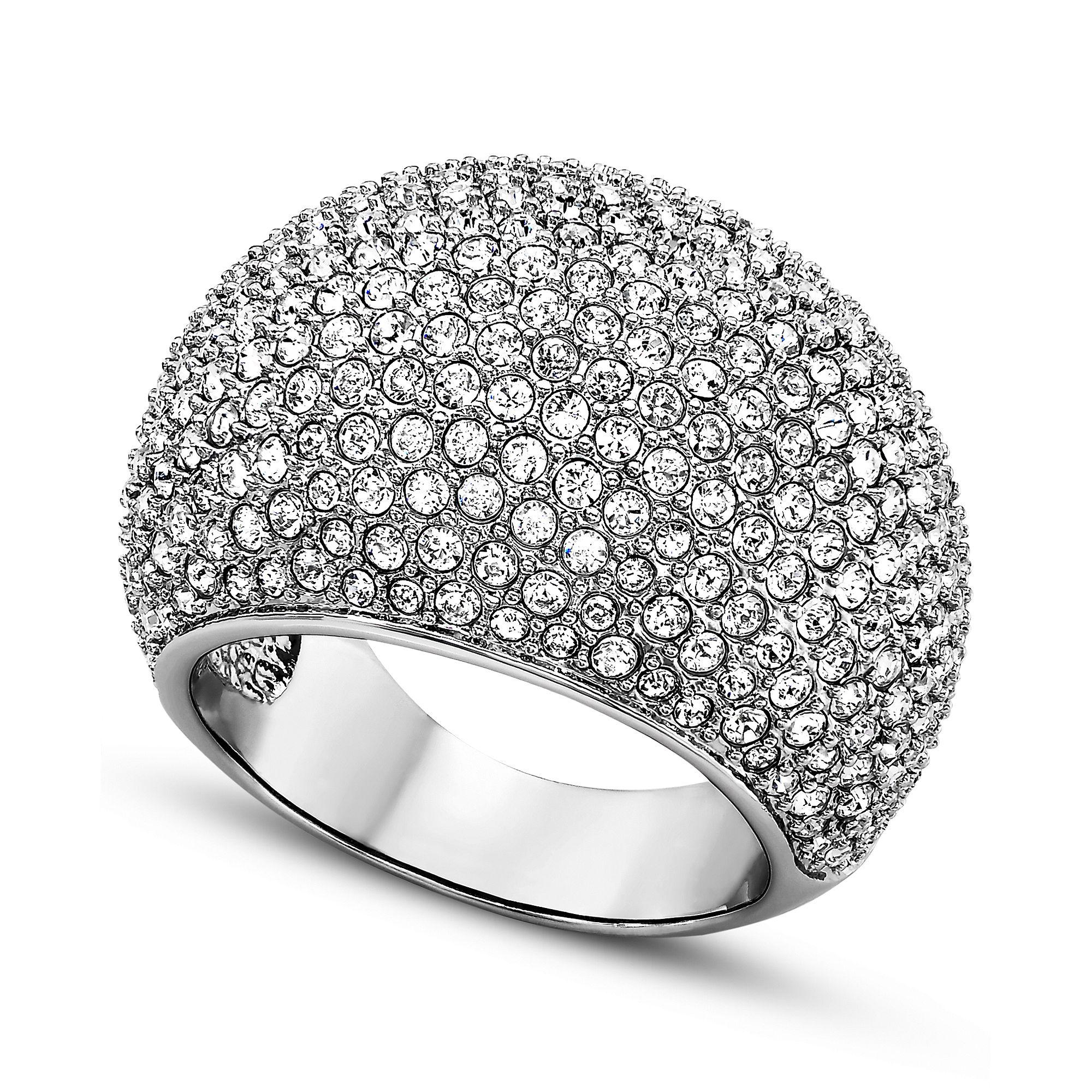 540054476 Swarovski Rhodiumplated Pave Crystal Stone Ring in Gray - Lyst