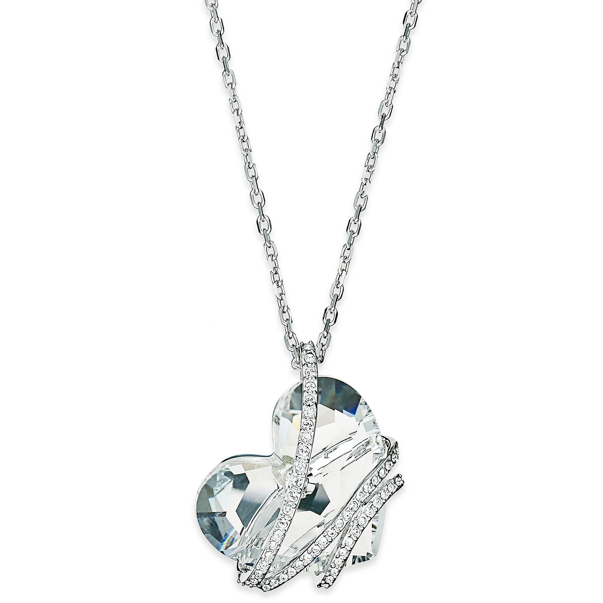 swarovski silver tone crystal heart pendant necklace in. Black Bedroom Furniture Sets. Home Design Ideas