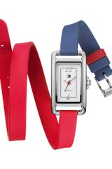 Tommy Hilfiger Womens Red and Blue Silicone Double Wrap Strap 37x20mm - Lyst