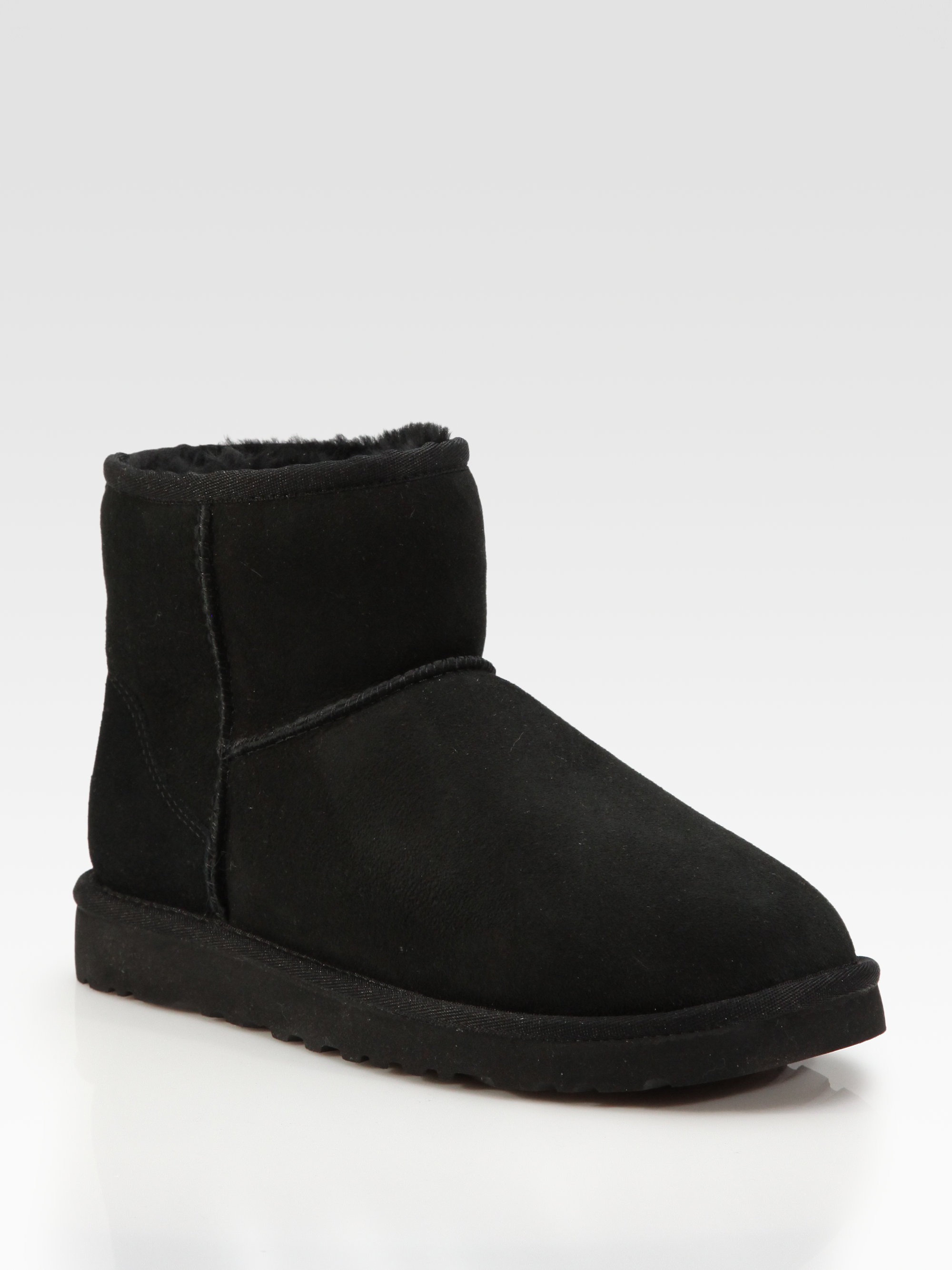 lyst ugg classic mini suede shearling boots in black. Black Bedroom Furniture Sets. Home Design Ideas