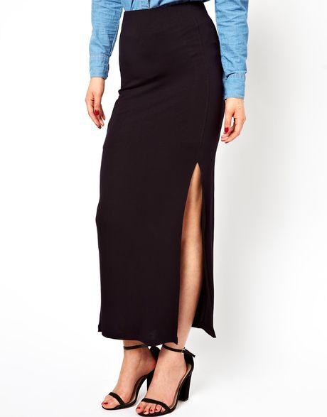 asos vila jersey maxi skirt with side split in black lyst