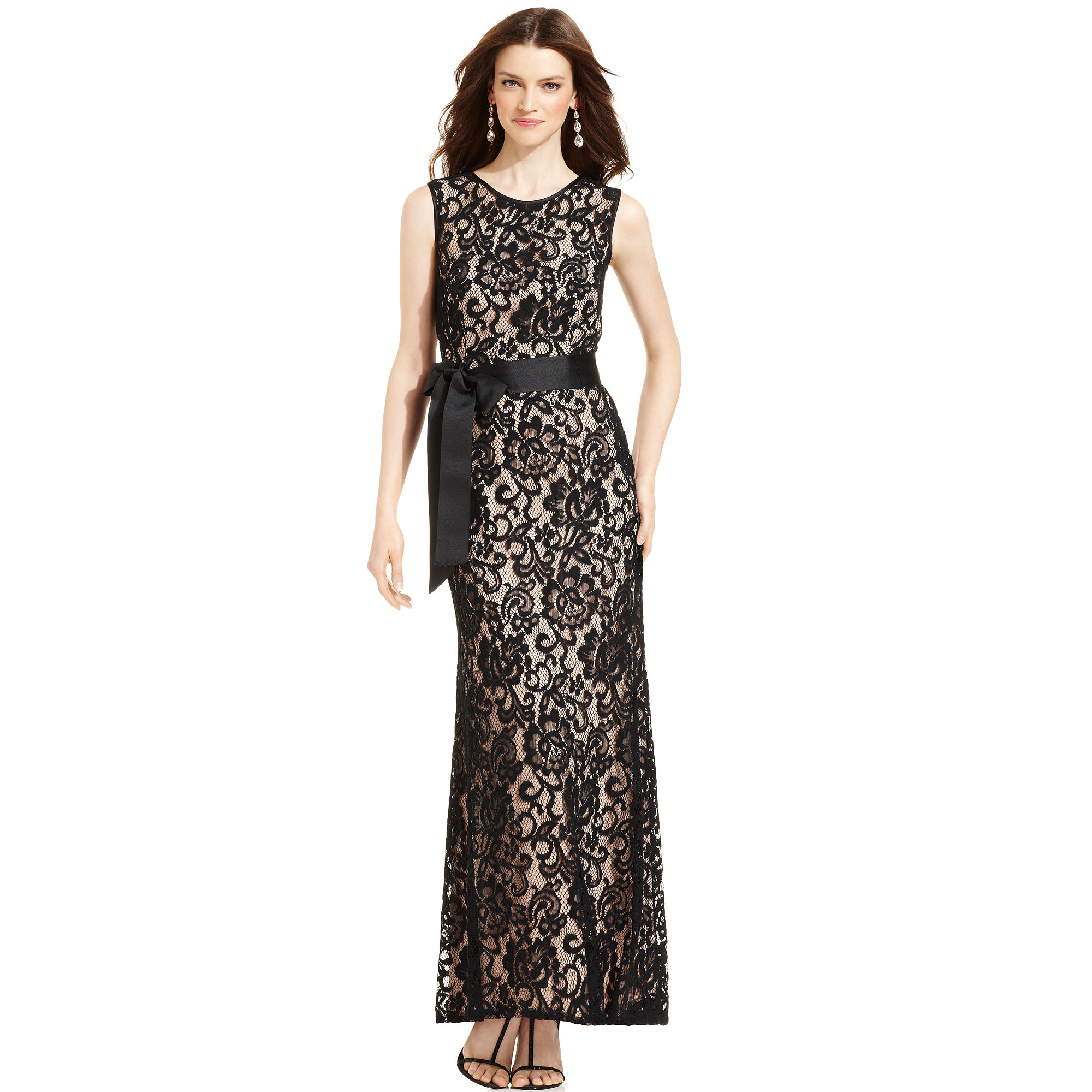 10bd3ffd Lyst Betsy Adam And Dress Sleeveless Belted Lace Gown