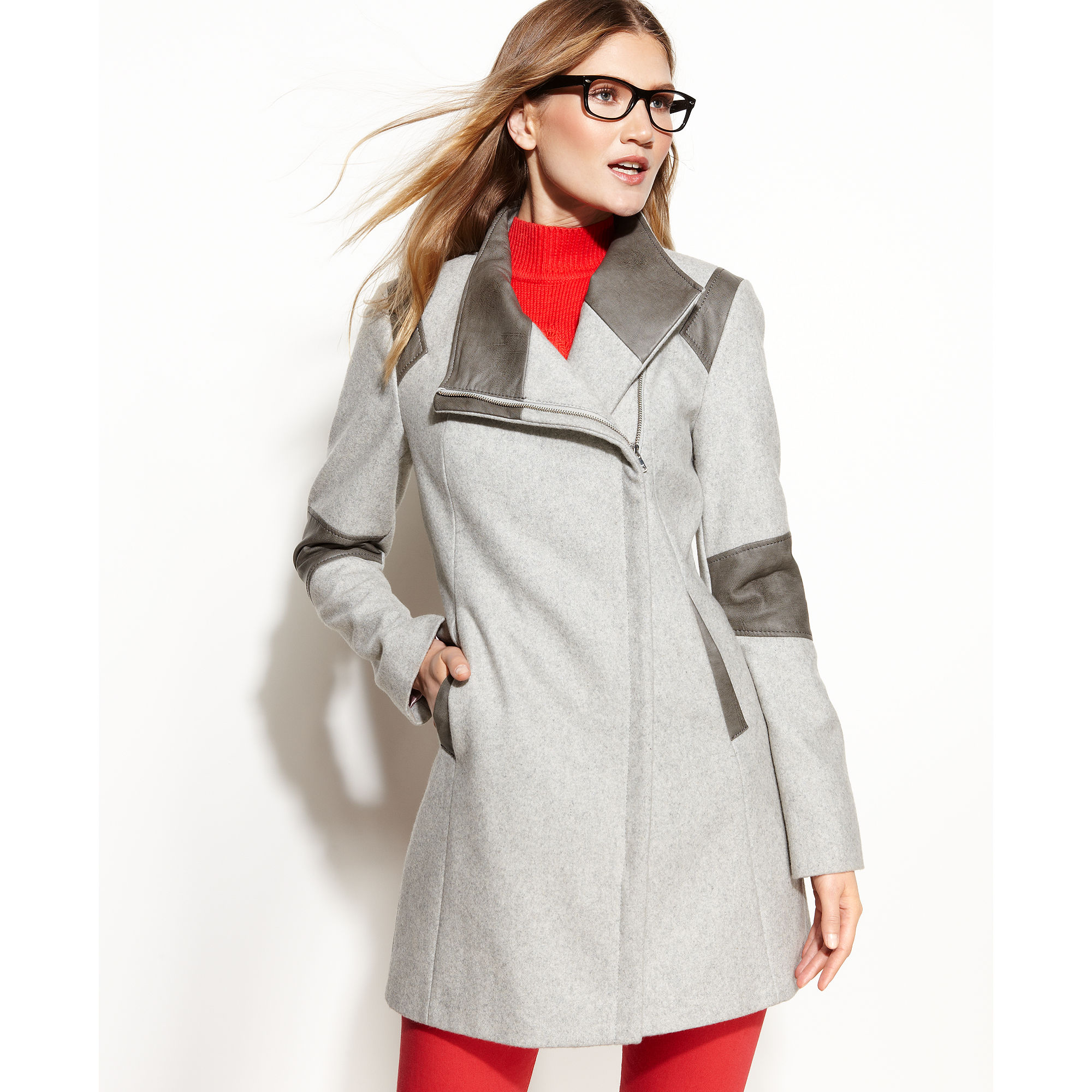 Calvin klein Colorblock Faux Leather Trim Coat in Gray | Lyst