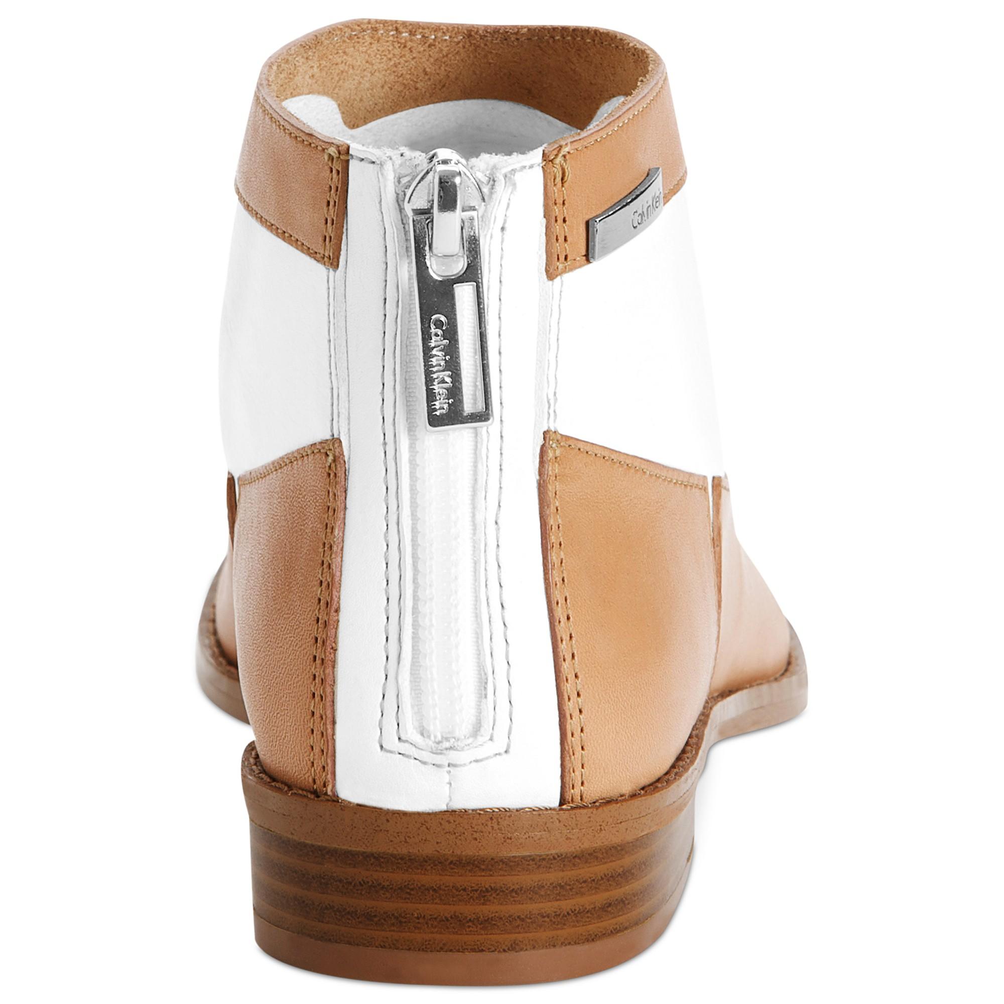 Lyst Calvin Klein Irena Flat Booties In Brown