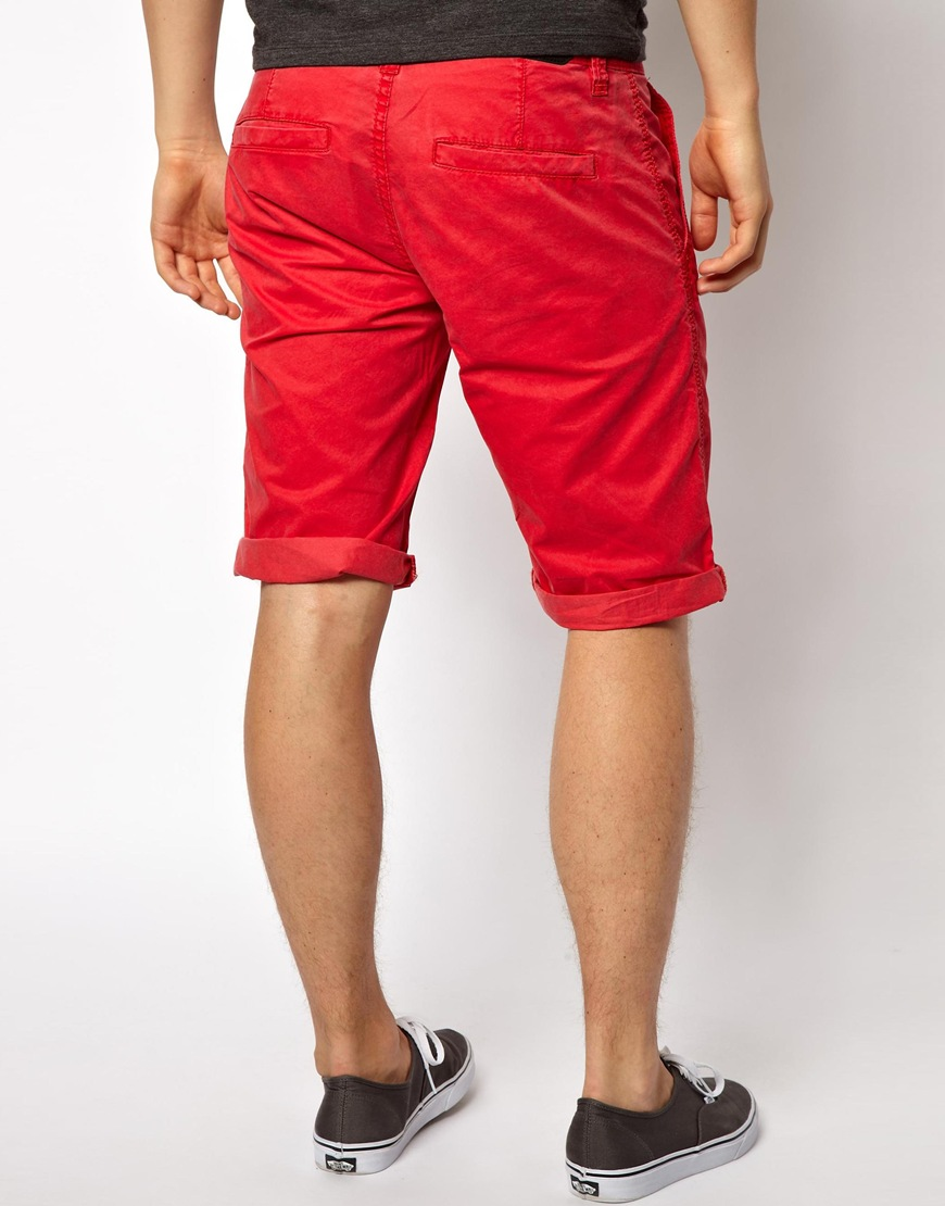 Asos Esprit Chino Shorts in Red for Men | Lyst