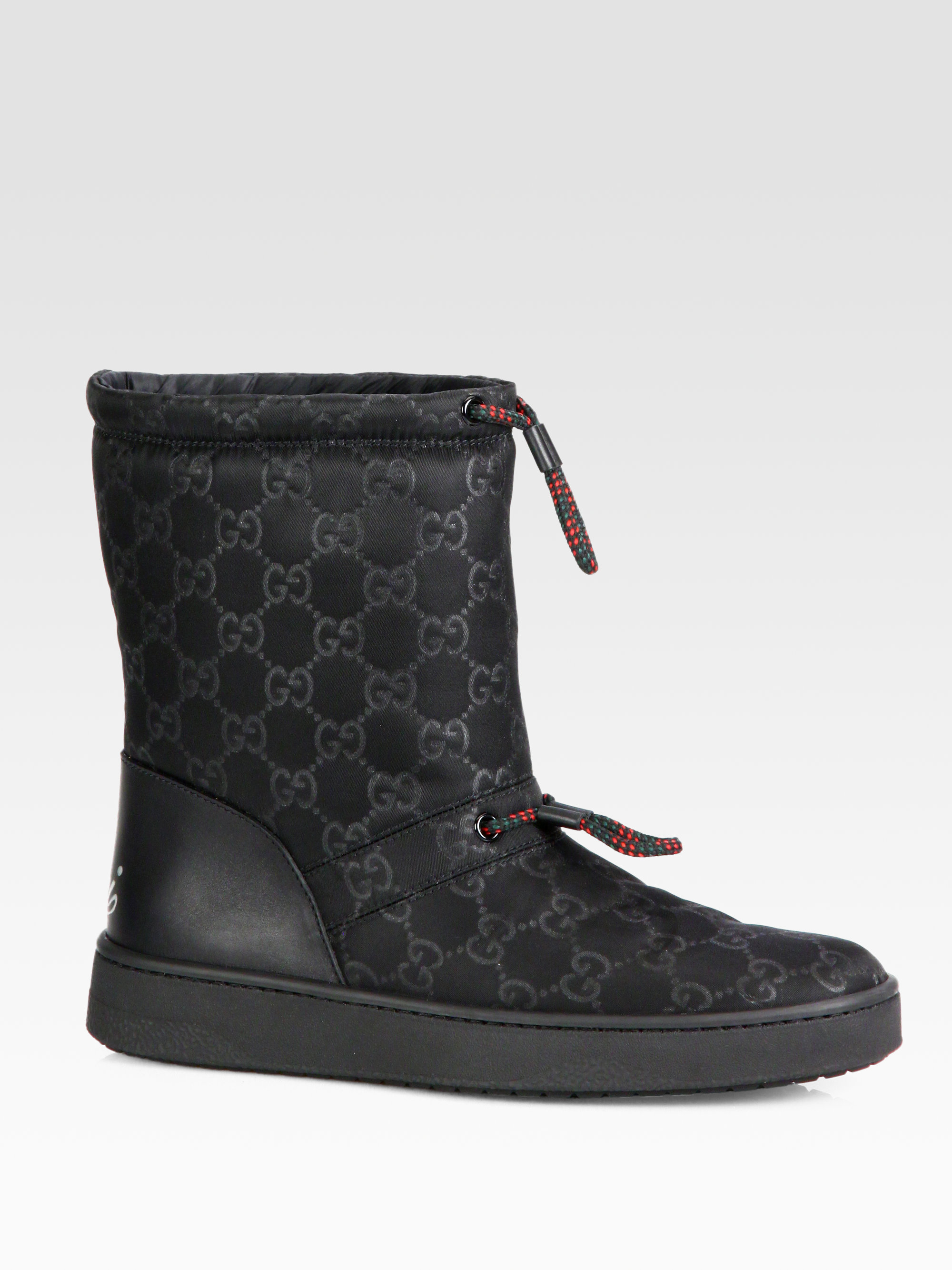 Lyst Gucci Sima Leather Trimmed Snow Boots In Black