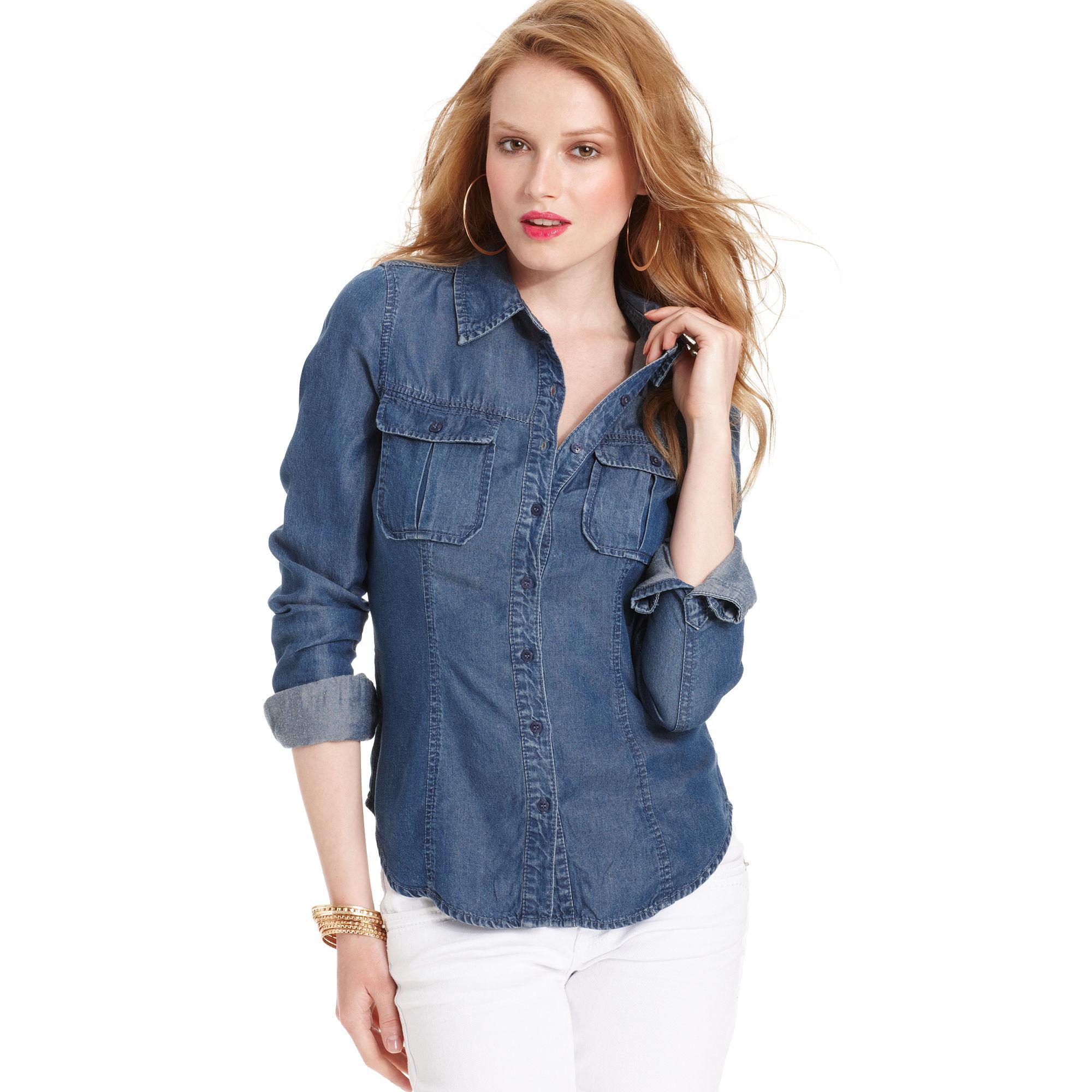 Guess Top Longsleeve Denim Shirt In Blue Lyst