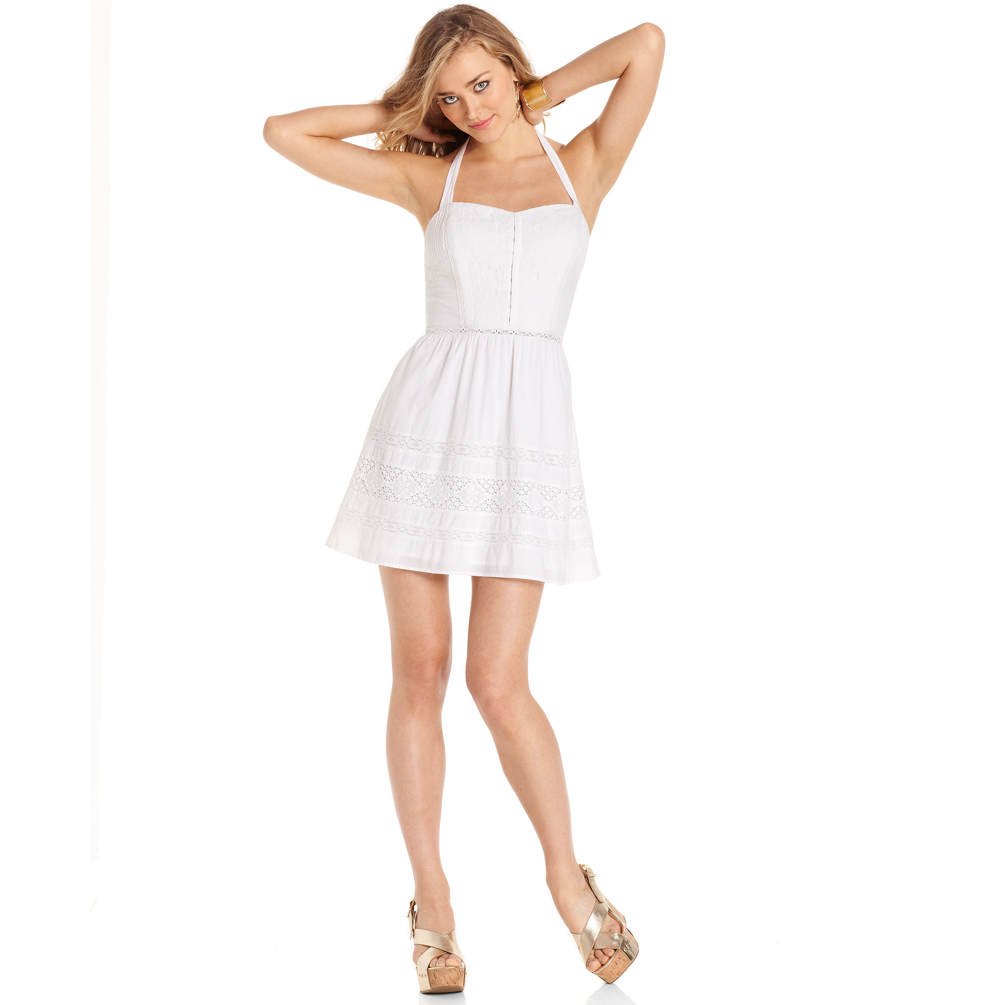 Guess Dress Sleeveless Halter Lace Aline in White  Lyst