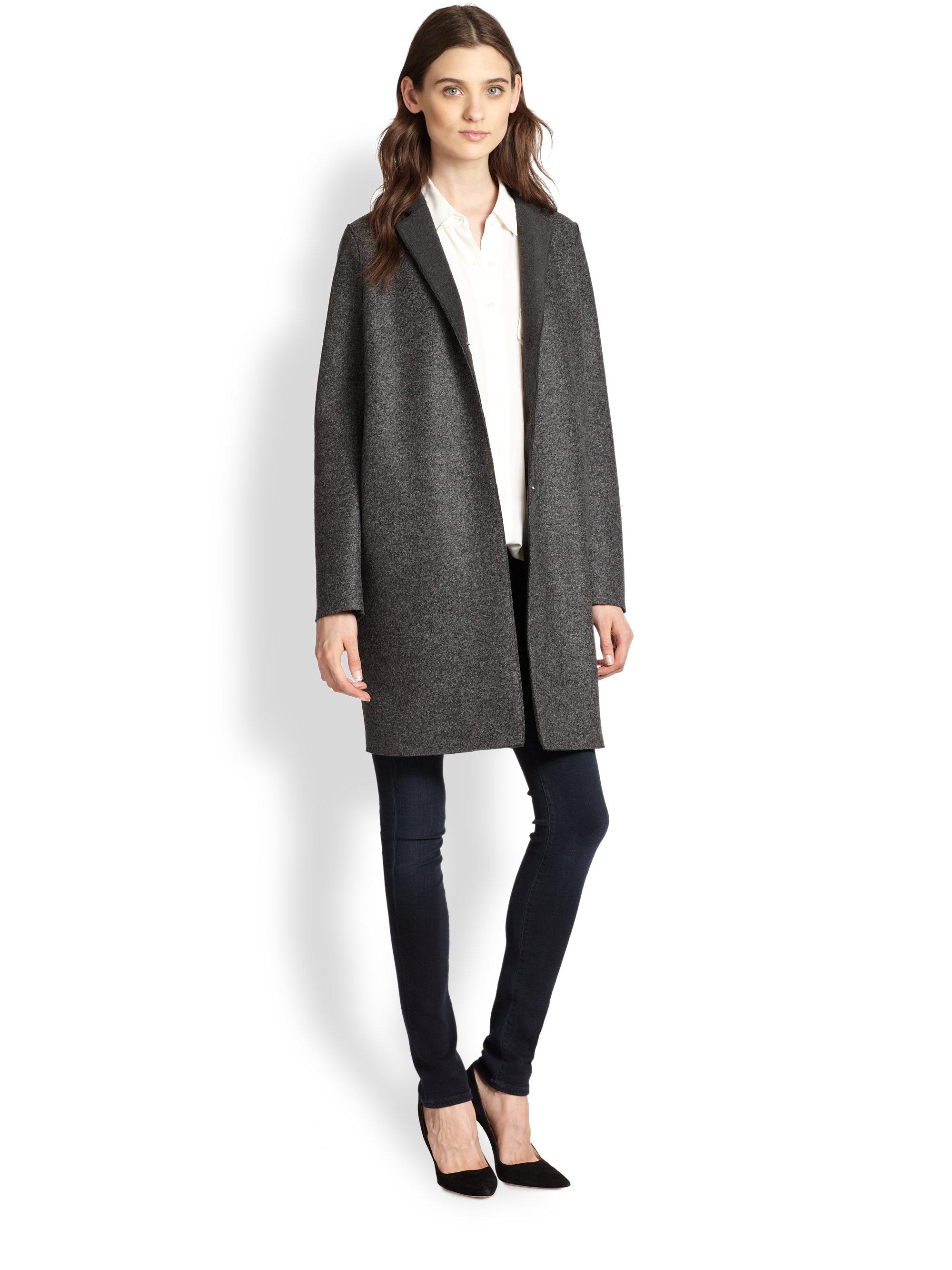 harris wharf london wool cocoon coat in gray lyst. Black Bedroom Furniture Sets. Home Design Ideas