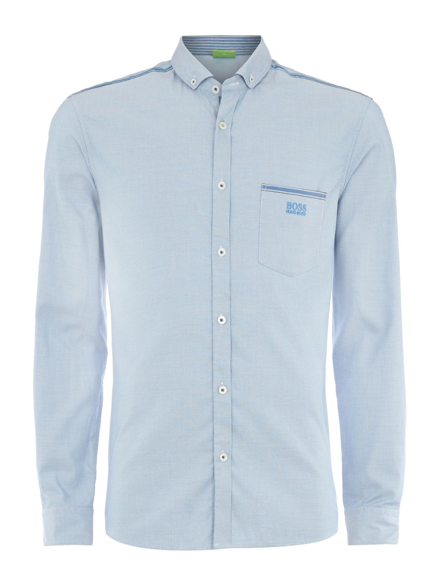 Hugo boss logo oxford shirt in blue for men light blue for Mens blue oxford shirt