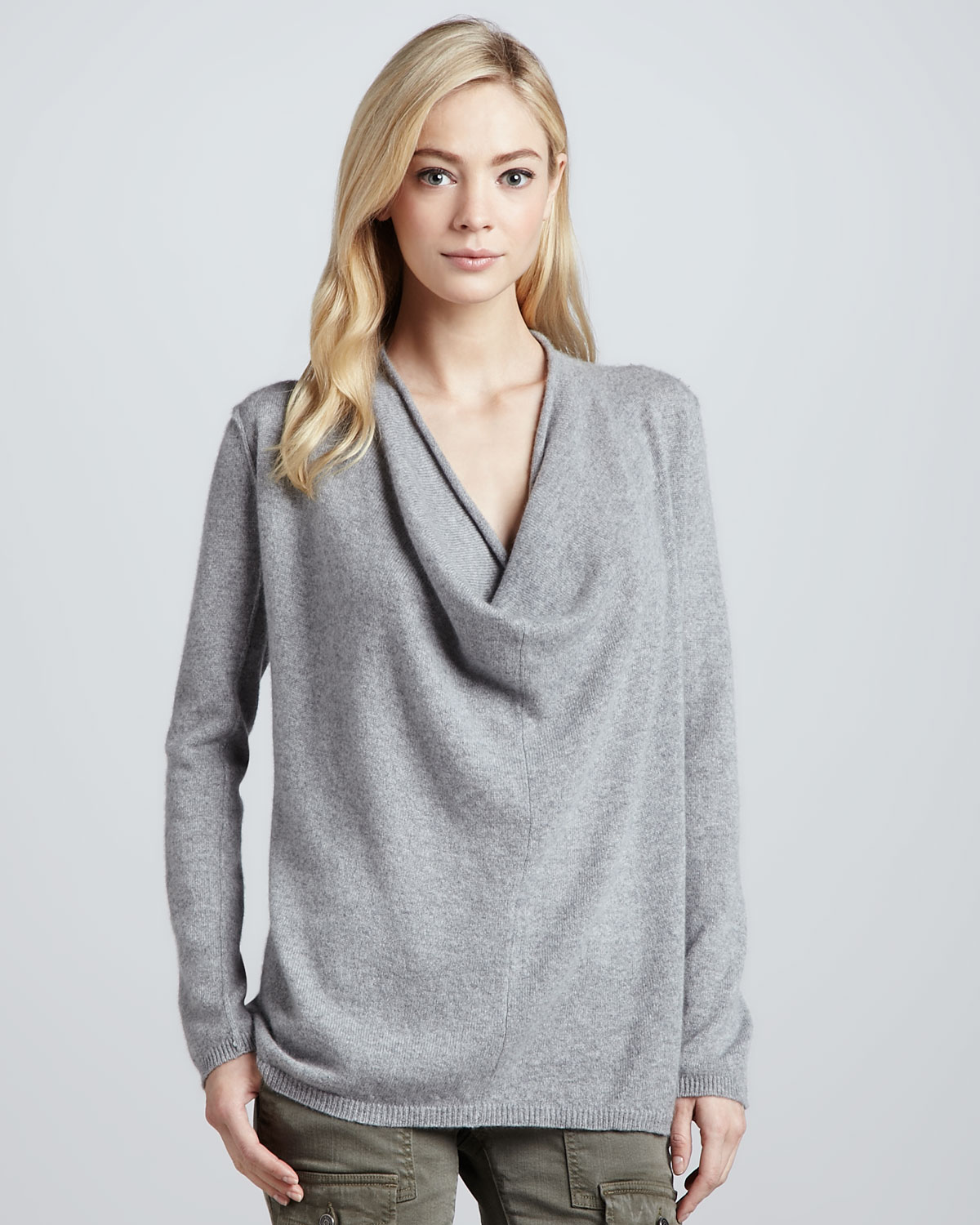 Joie Cowlneck Cashmere Sweater in Gray | Lyst