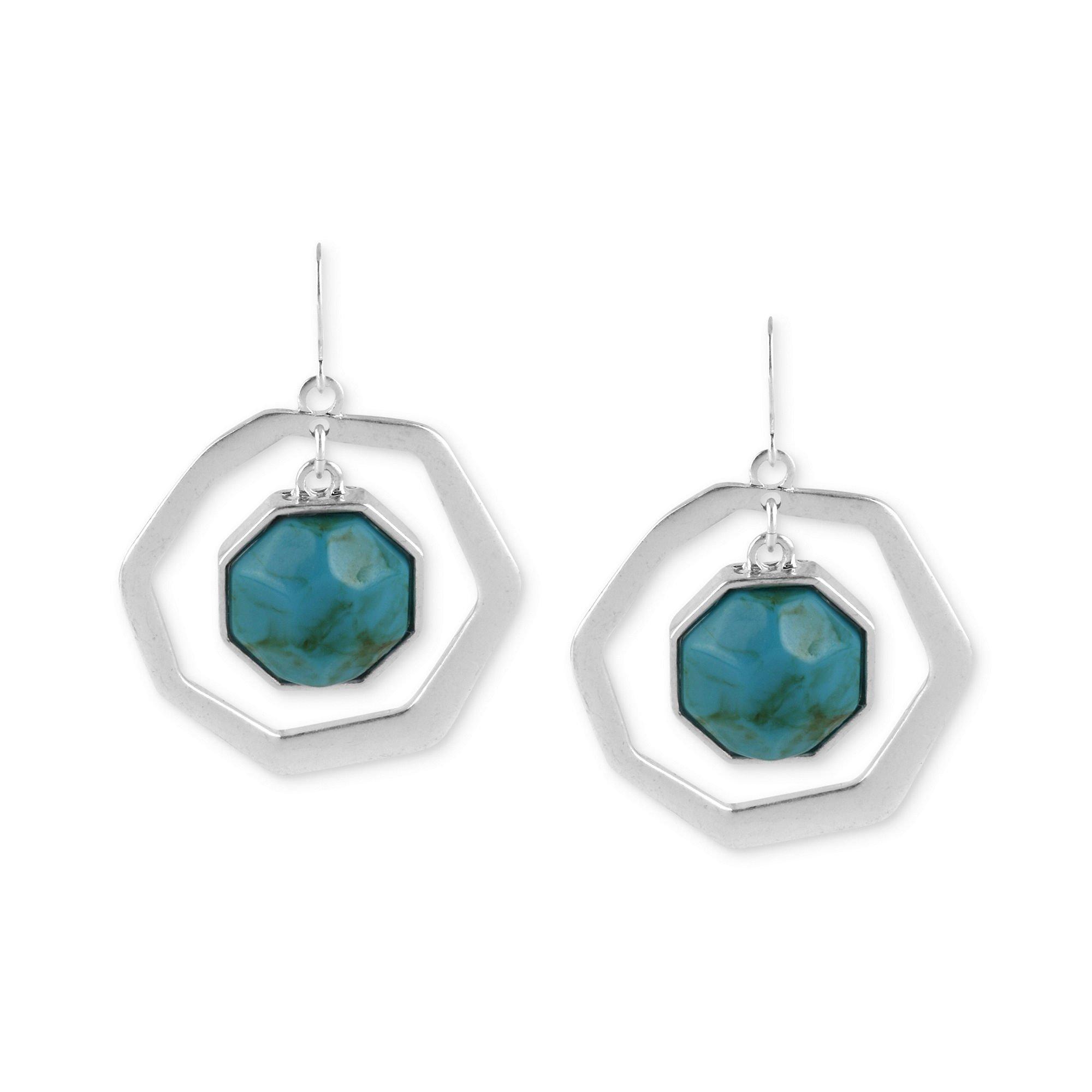 kenneth cole silvertone turquoise geometric bead orbital