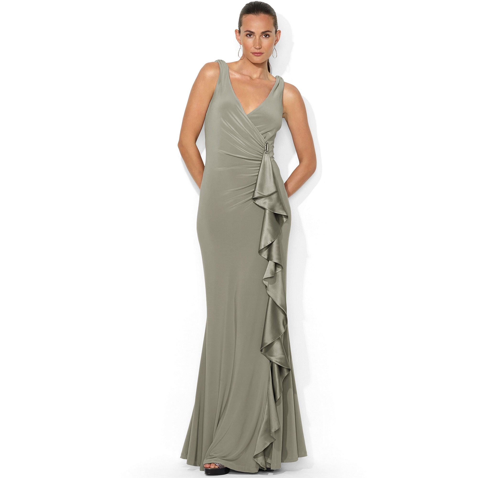 lauren by ralph lauren sleeveless ruched ruffled gown in gray smoke