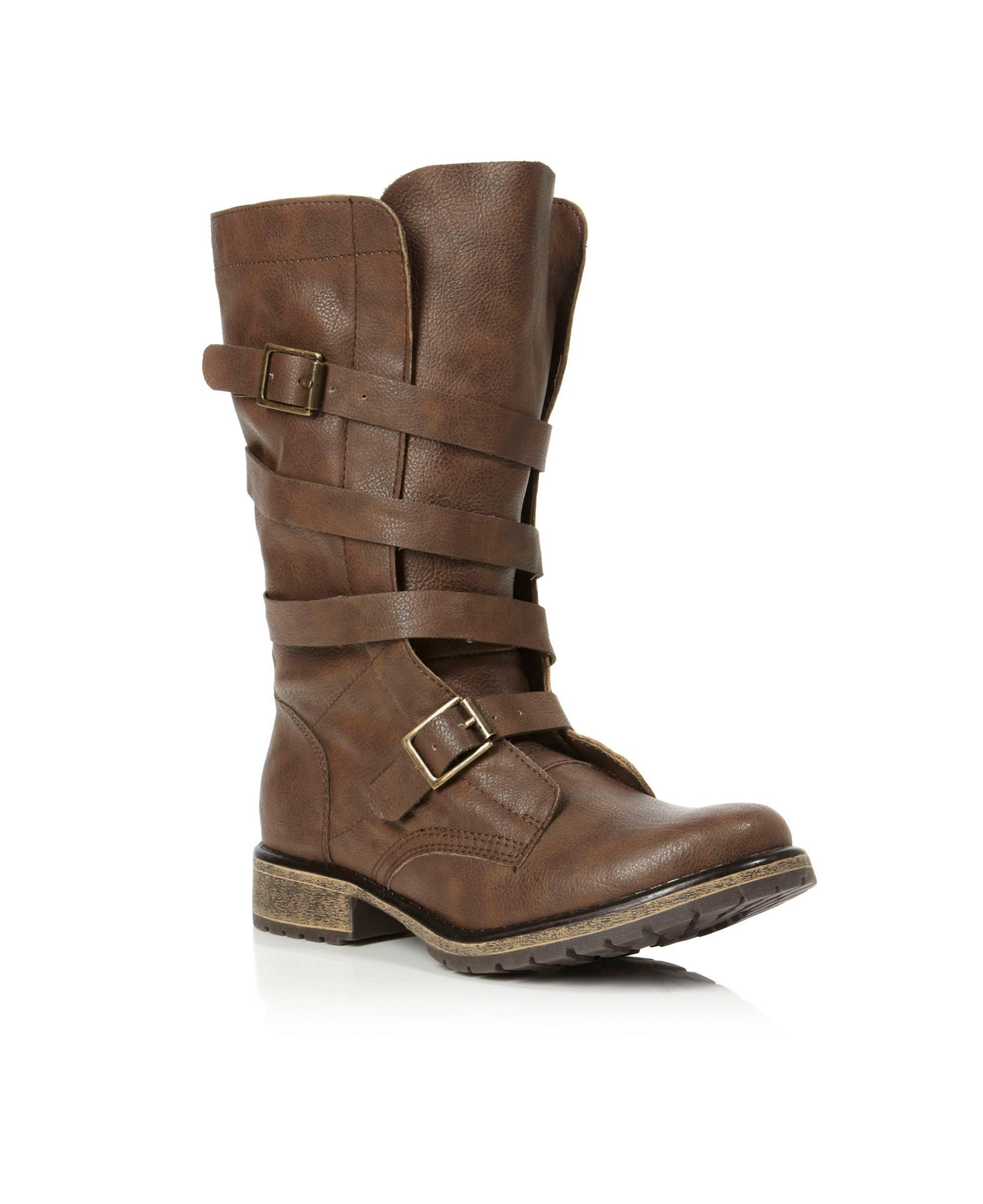 madden razcal mg buckle calf boots in brown lyst