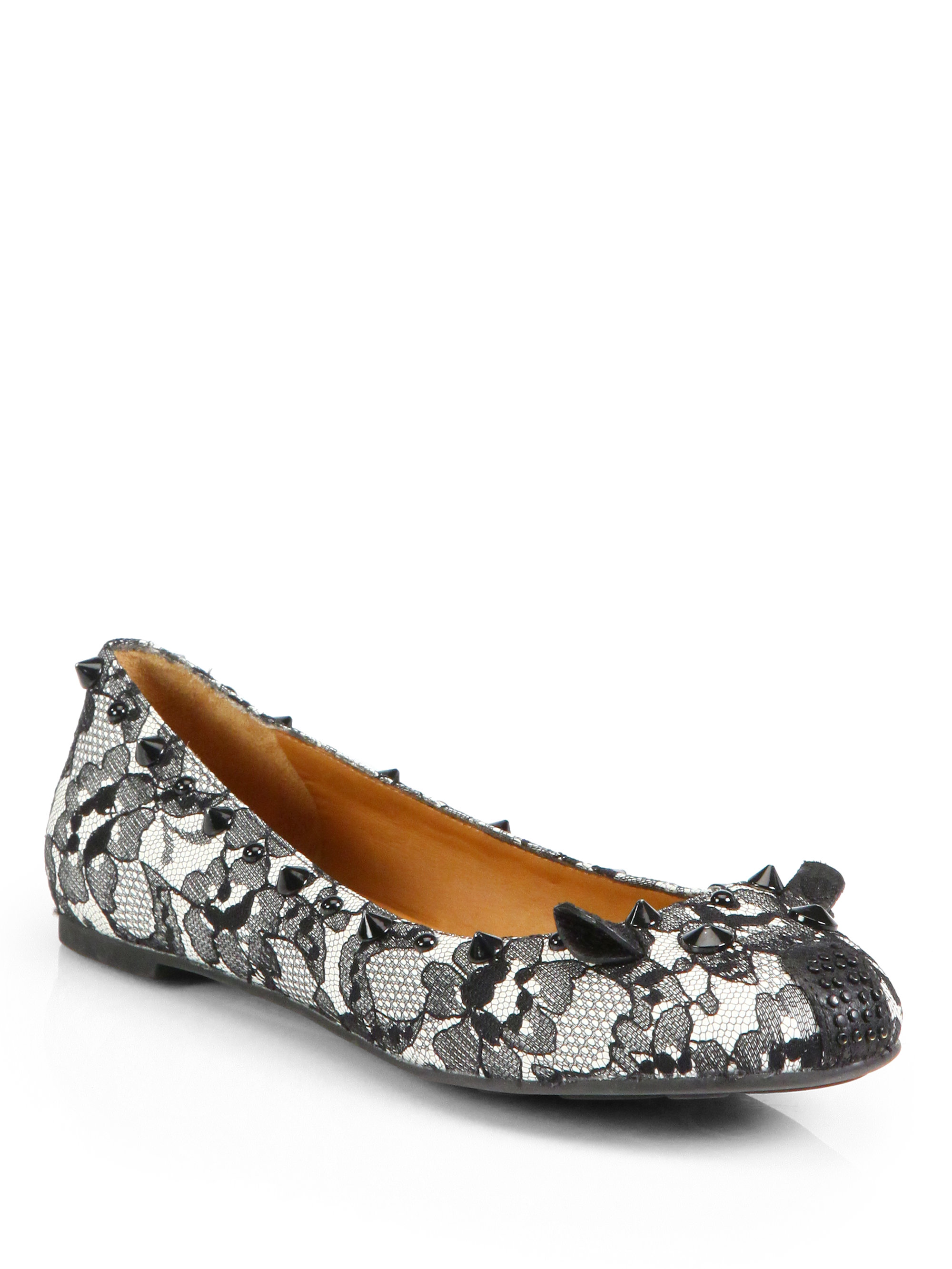 546636f626b9a Lyst - Marc By Marc Jacobs Lace Mouse Ballet Flats in Gray