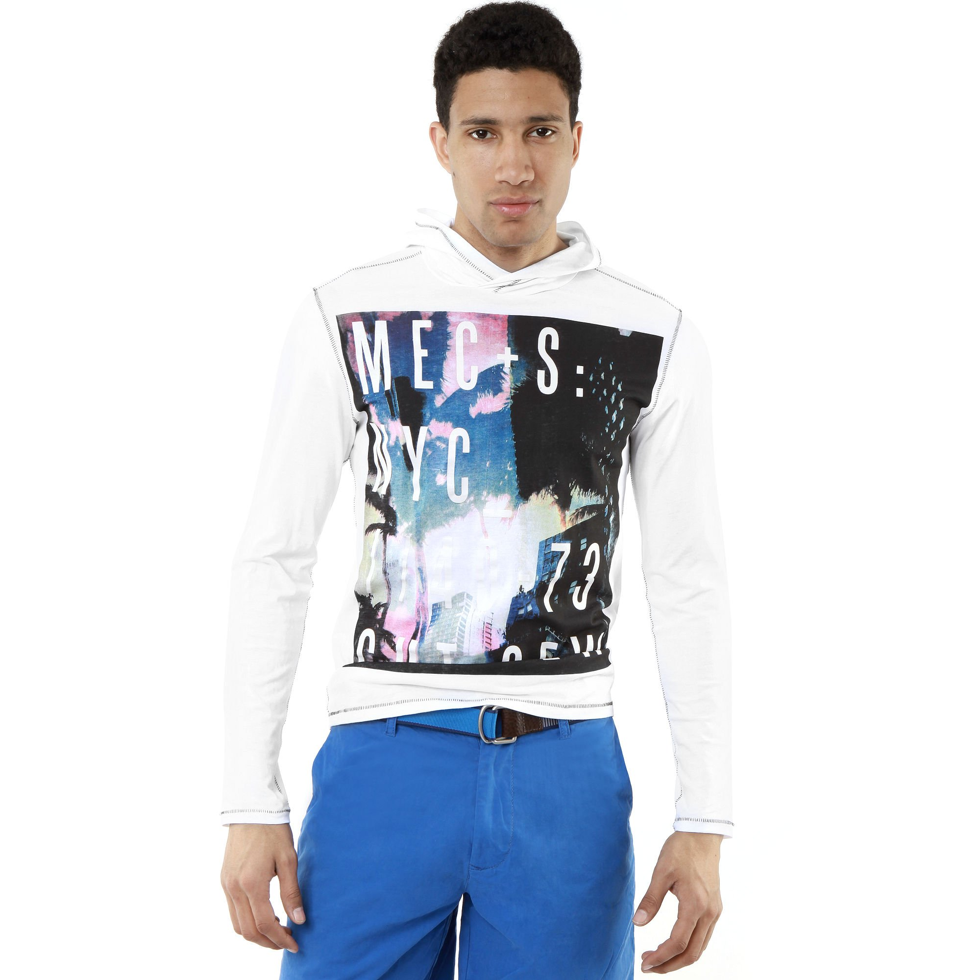 Marc ecko metropolis hoodie in white for men lyst for Marc ecko dress shirts