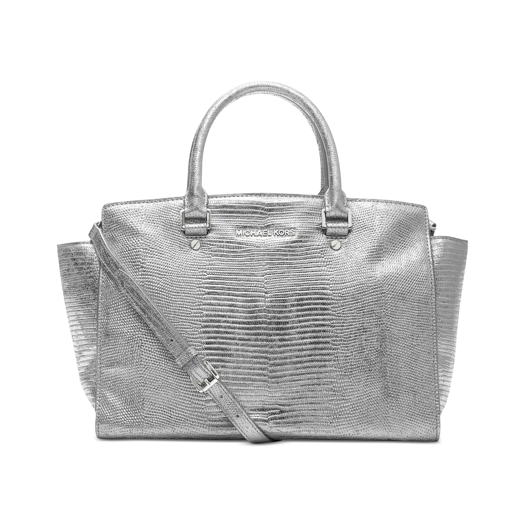 michael kors selma large metallic satchel in silver lyst. Black Bedroom Furniture Sets. Home Design Ideas