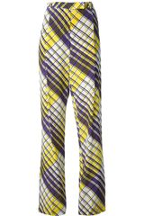 MSGM Check Print Trousers - Lyst