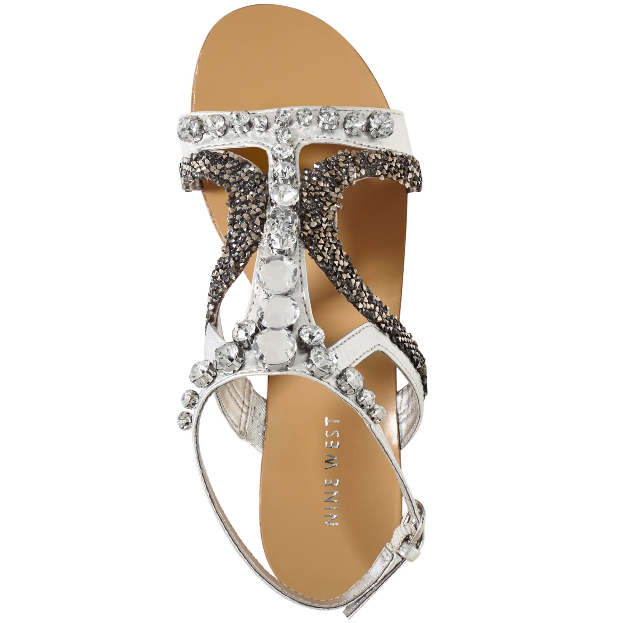 Lyst Nine West Wharf Bling Flat Sandals In Metallic