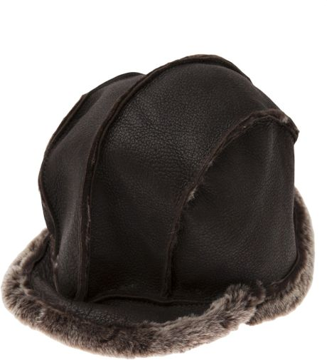 Chocolate Baseball Cap: Paul Smith Shearling Baseball Hat In Brown For Men