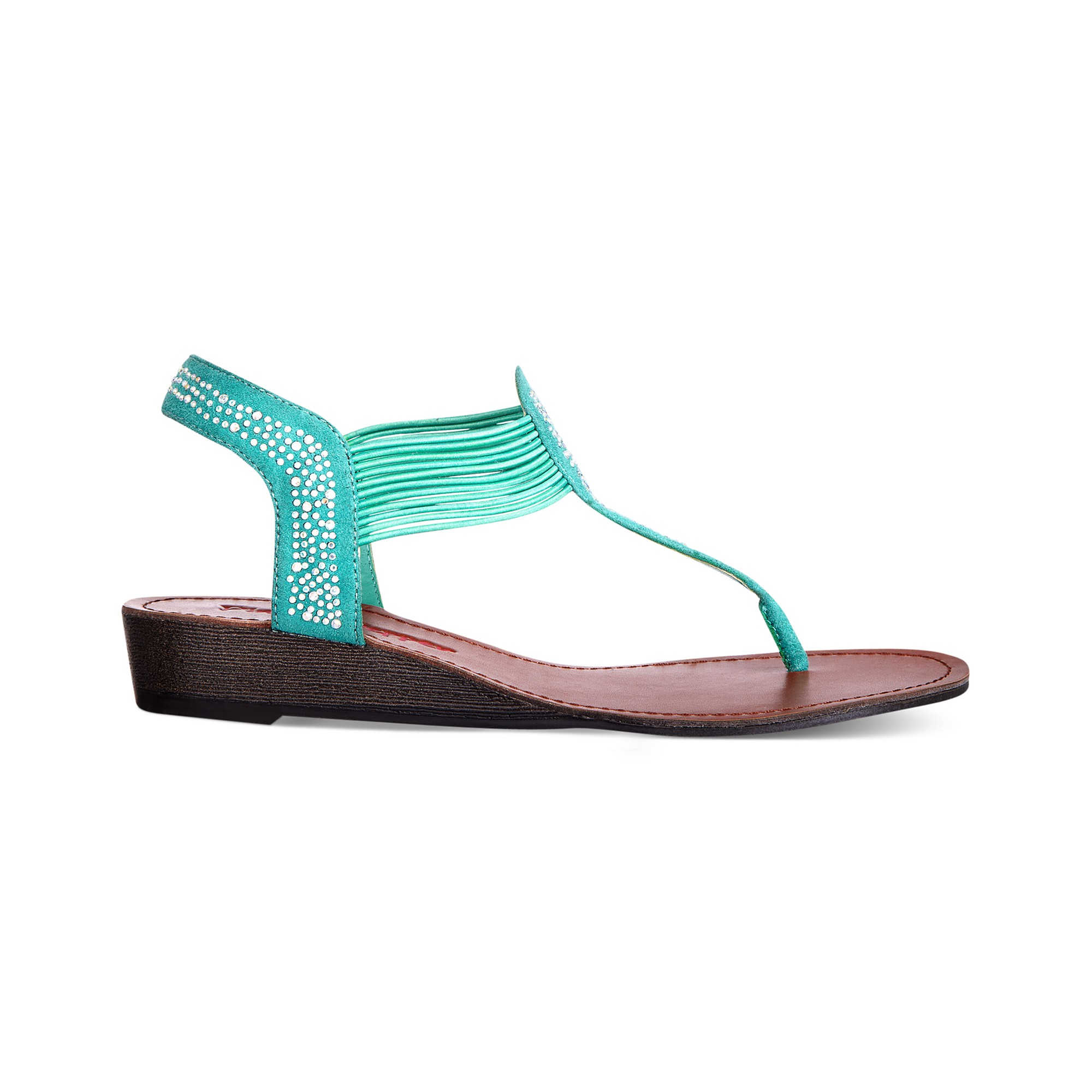 Lyst Pink And Pepper Memory Flat Thong Sandals In Green