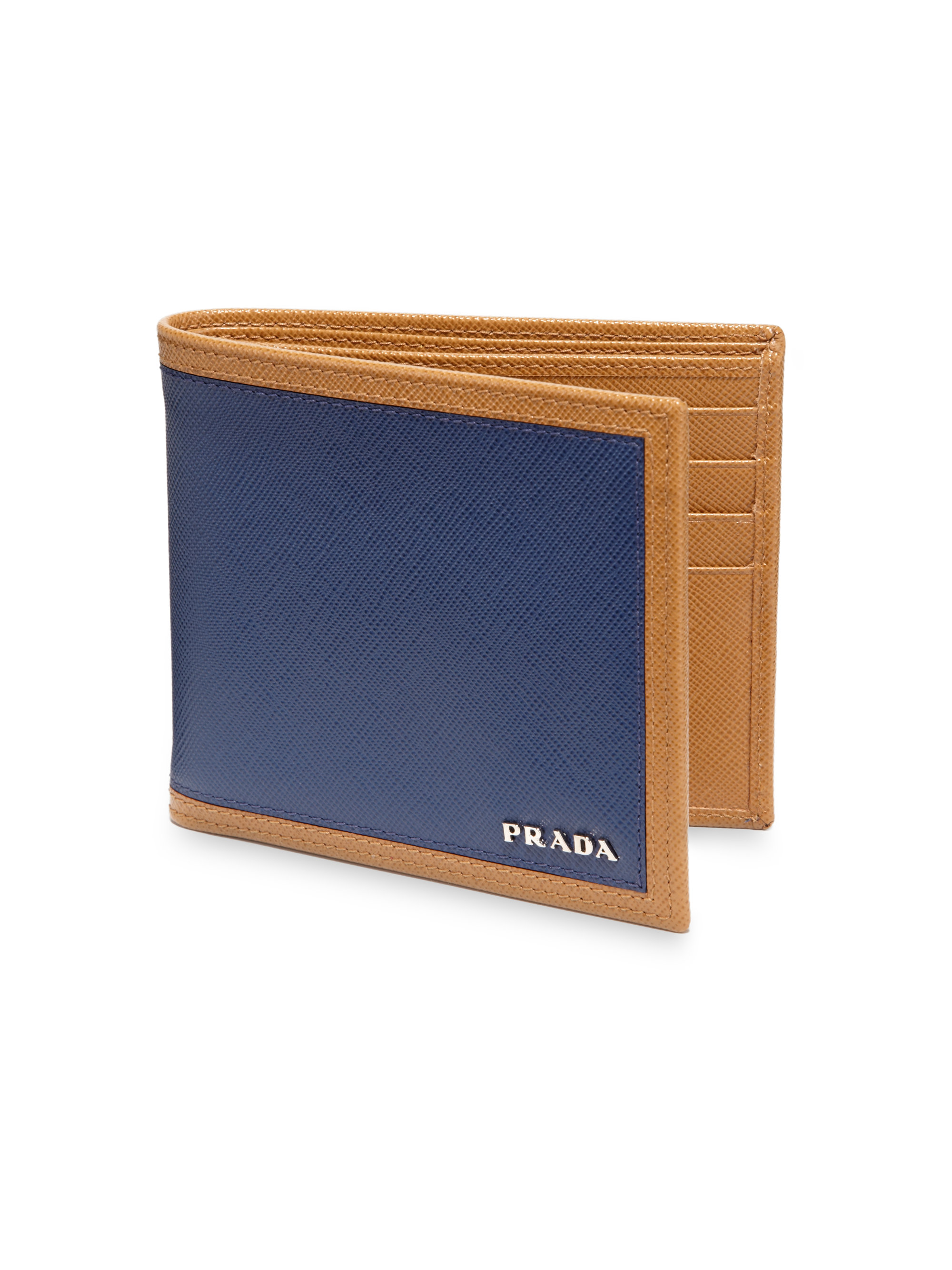 d7c080ab0fef Prada Saffiano Frame Billfold Wallet in Blue for Men - Lyst