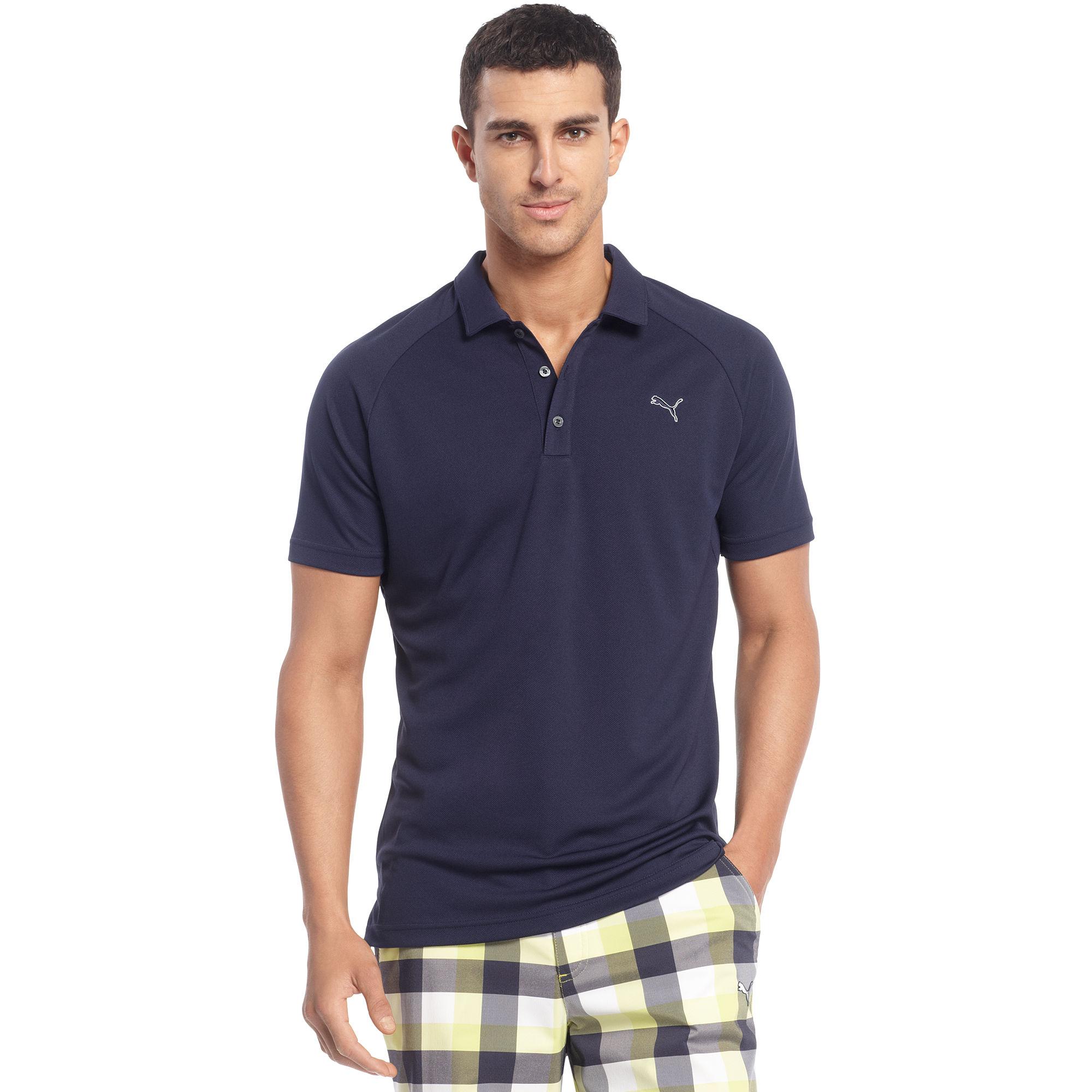 Puma Raglan Tech Golf Polo Shirt In Blue For Men White