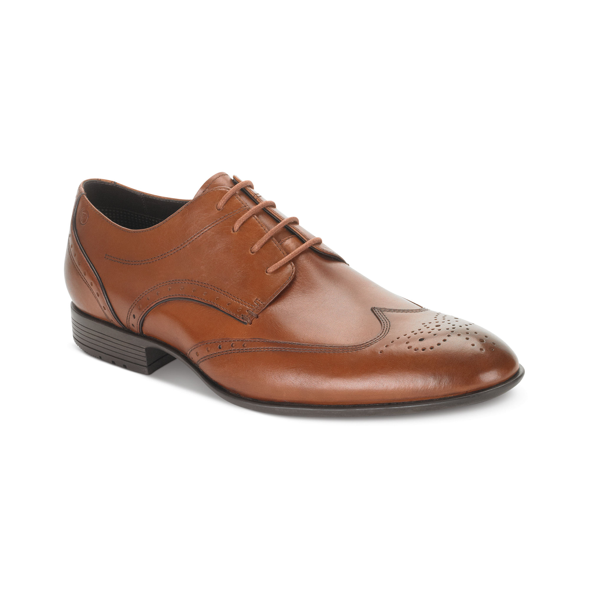 Rockport Dialed In Wingtip Lace Shoes Brown For Men