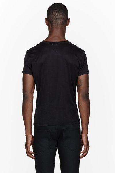 Saint Laurent Black Silk Chain Trimmed Pocket T Shirt In
