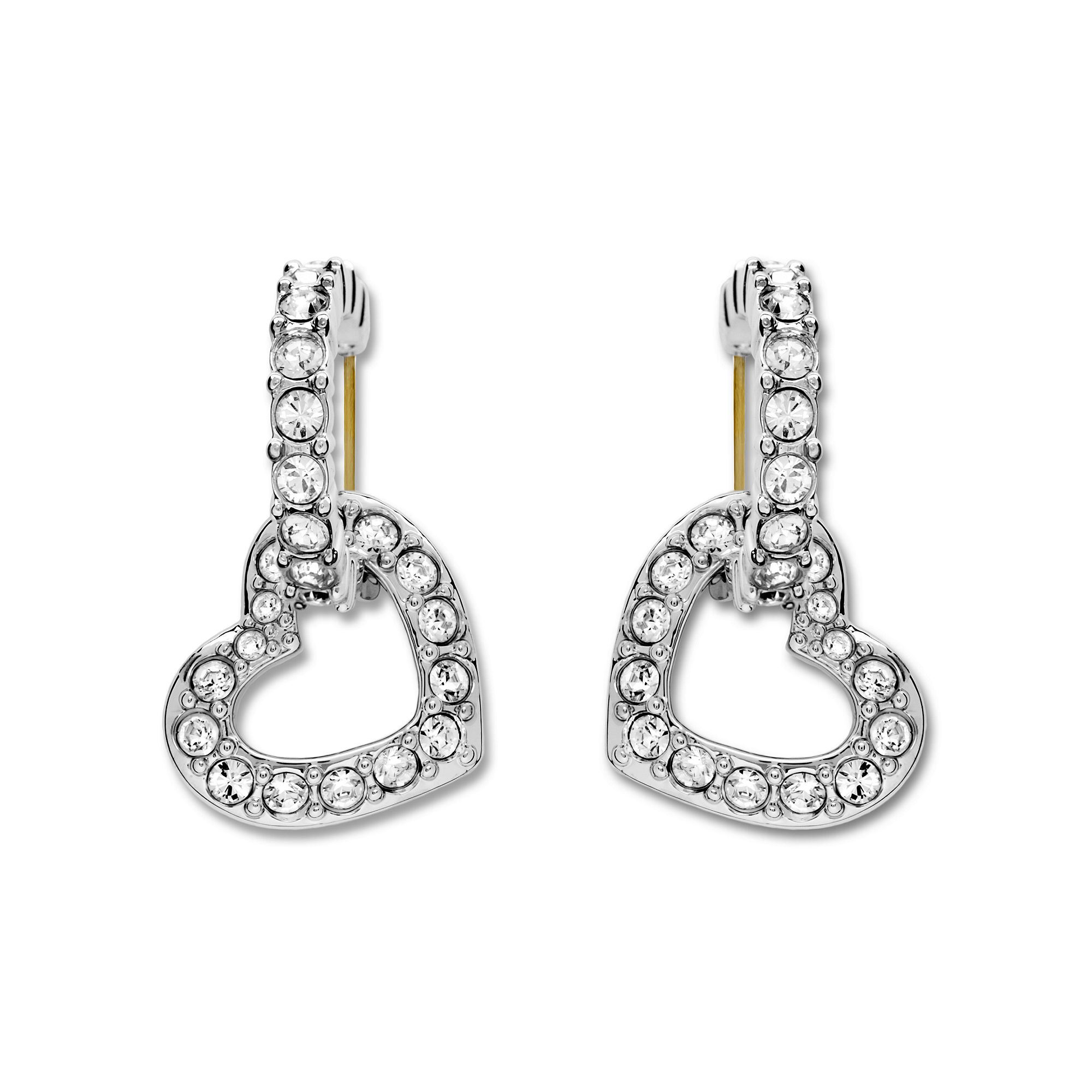 Lyst - Swarovski Pave Crystal Heart Dangle Earrings in Metallic 3dabdf0b3d