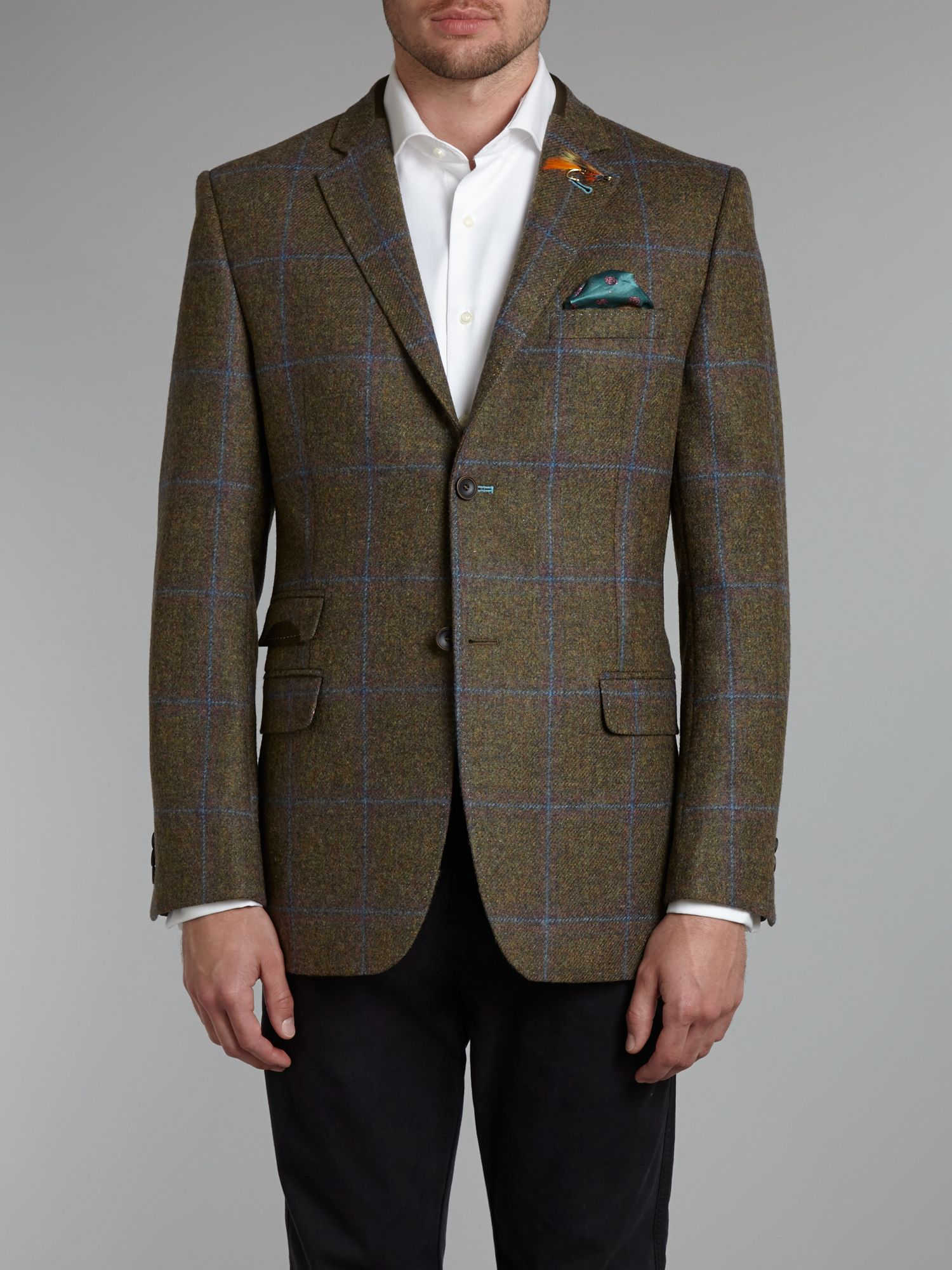 Ted Baker Fieldz Regular Fit Donegal Check Jacket In Green