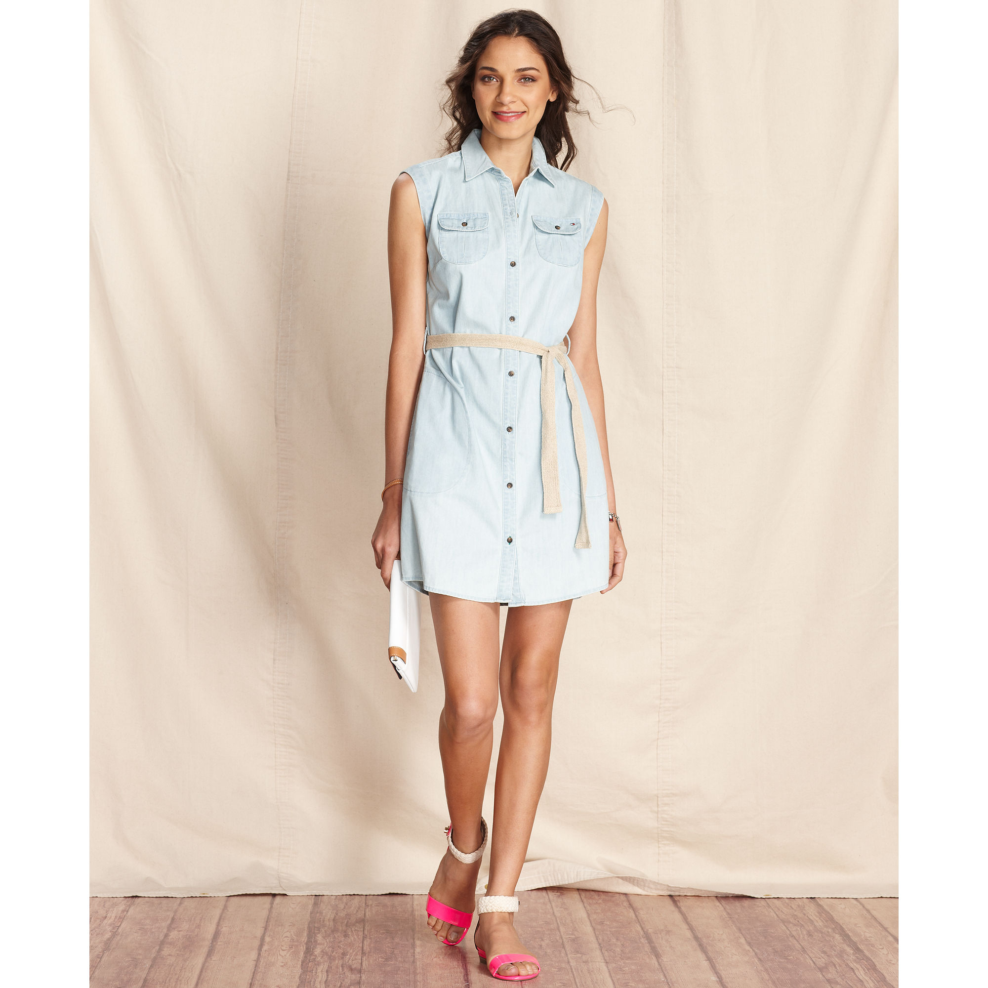 4a7c366a42e185 Lyst - Tommy Hilfiger Sleeveless Denim Shirtdress in Blue